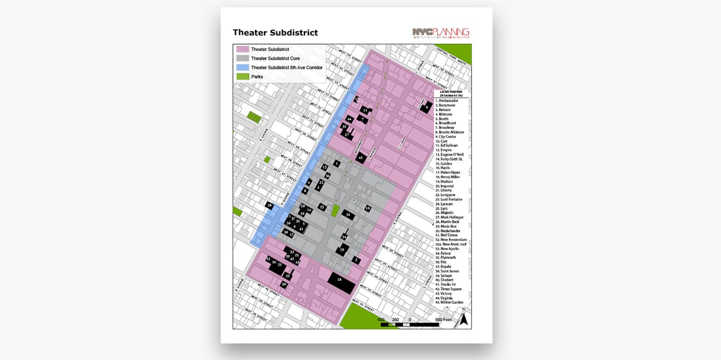 map of theatres in Times Square