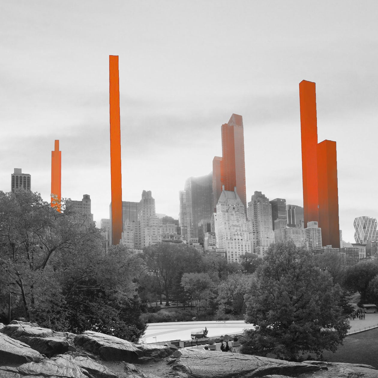 Illustration of Manhattan skyline with super-tall buildings