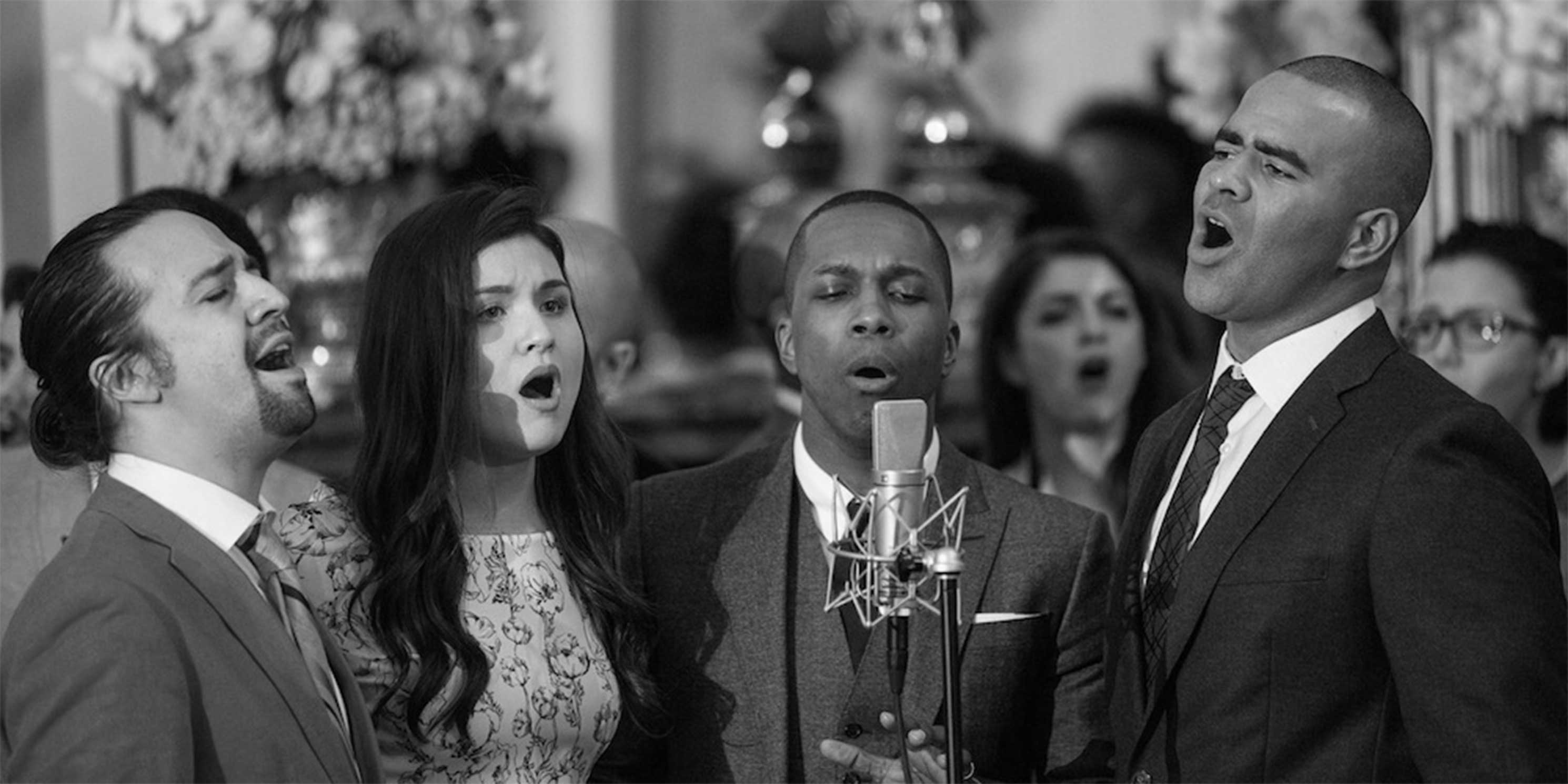 Hamilton cast members perform musical selections at the White House, 2016. L-R: Lin-Manuel Miranda, Phillipa Soo, Leslie Odom, Jr., and Christopher Jackson. Photo: The White House, Amanda Lucidon.