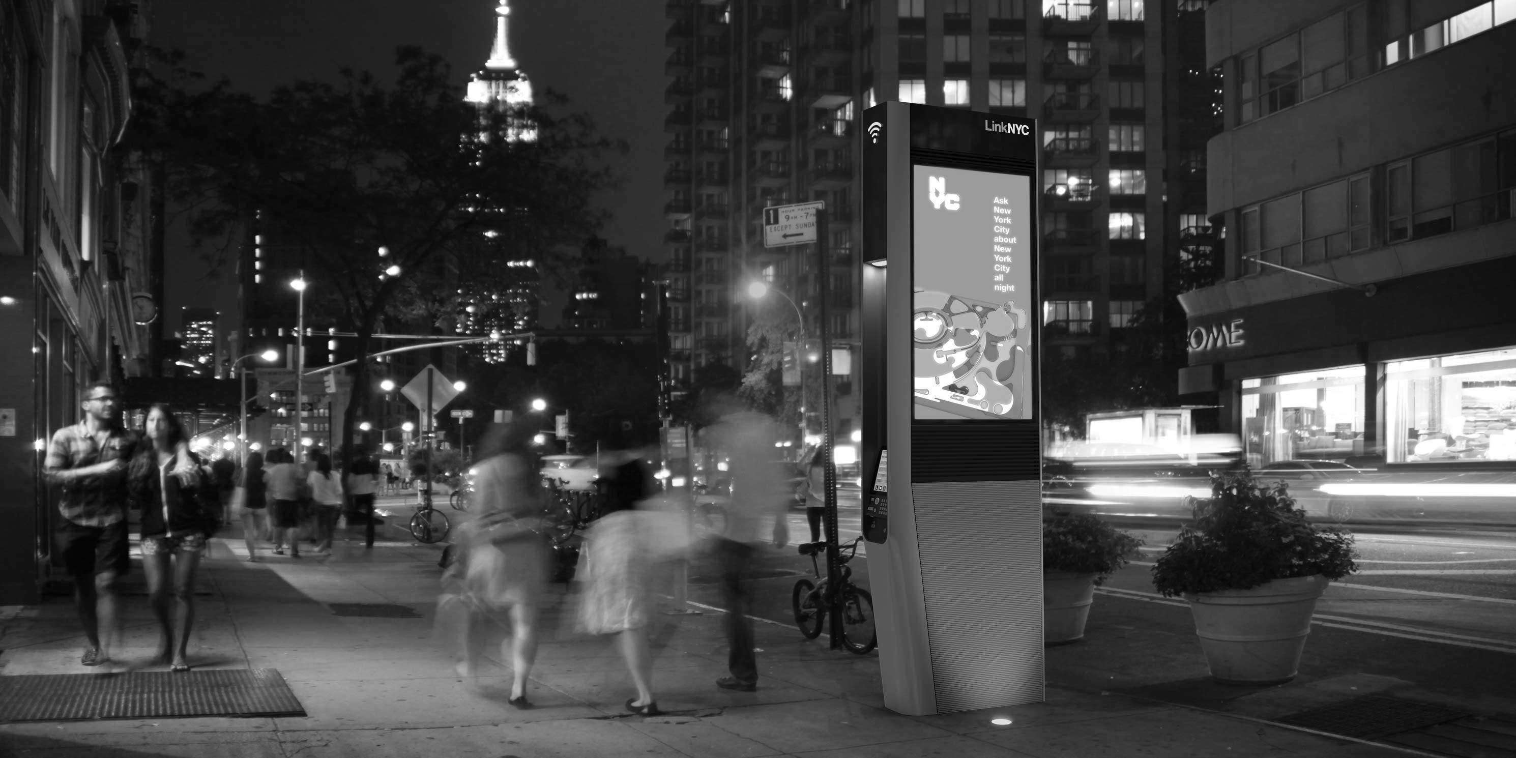 Rendering of a LinkNYC Wifi kiosk. Photo: LinkNYC.