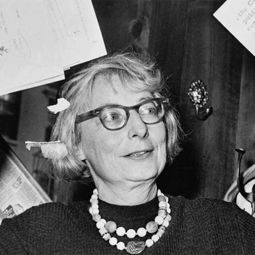 Jane Jacobs during a press conference at the Lion's Head Restaurant in 1961. Photo: Library of Congress.