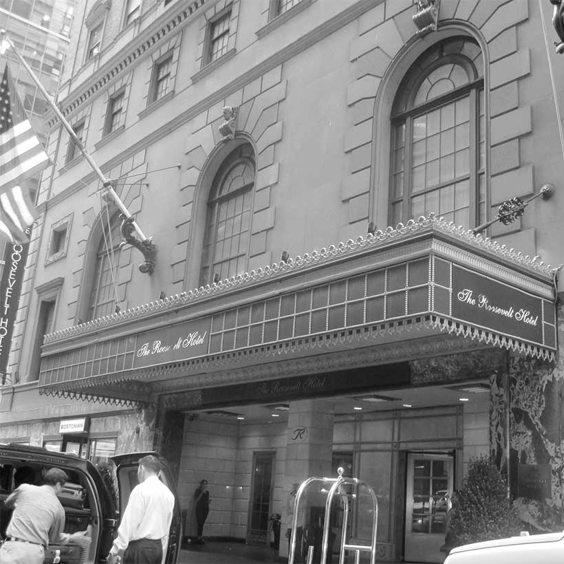 Entrance to the Roosevelt Hotel in Manhattan. Photo: Wikimedia Commons, Billy Hathorn.