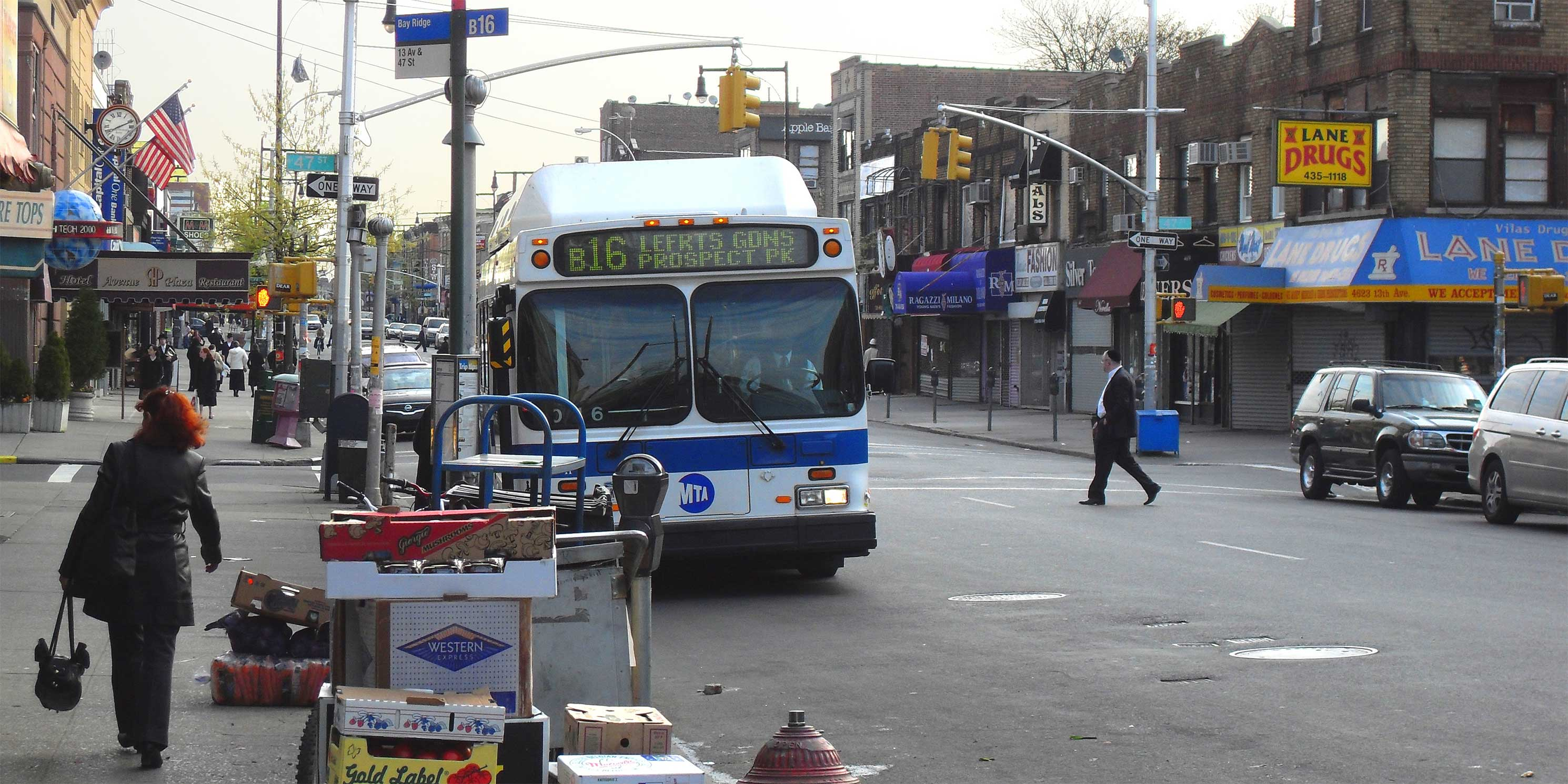 Traffic on 13th Street in Borough Park