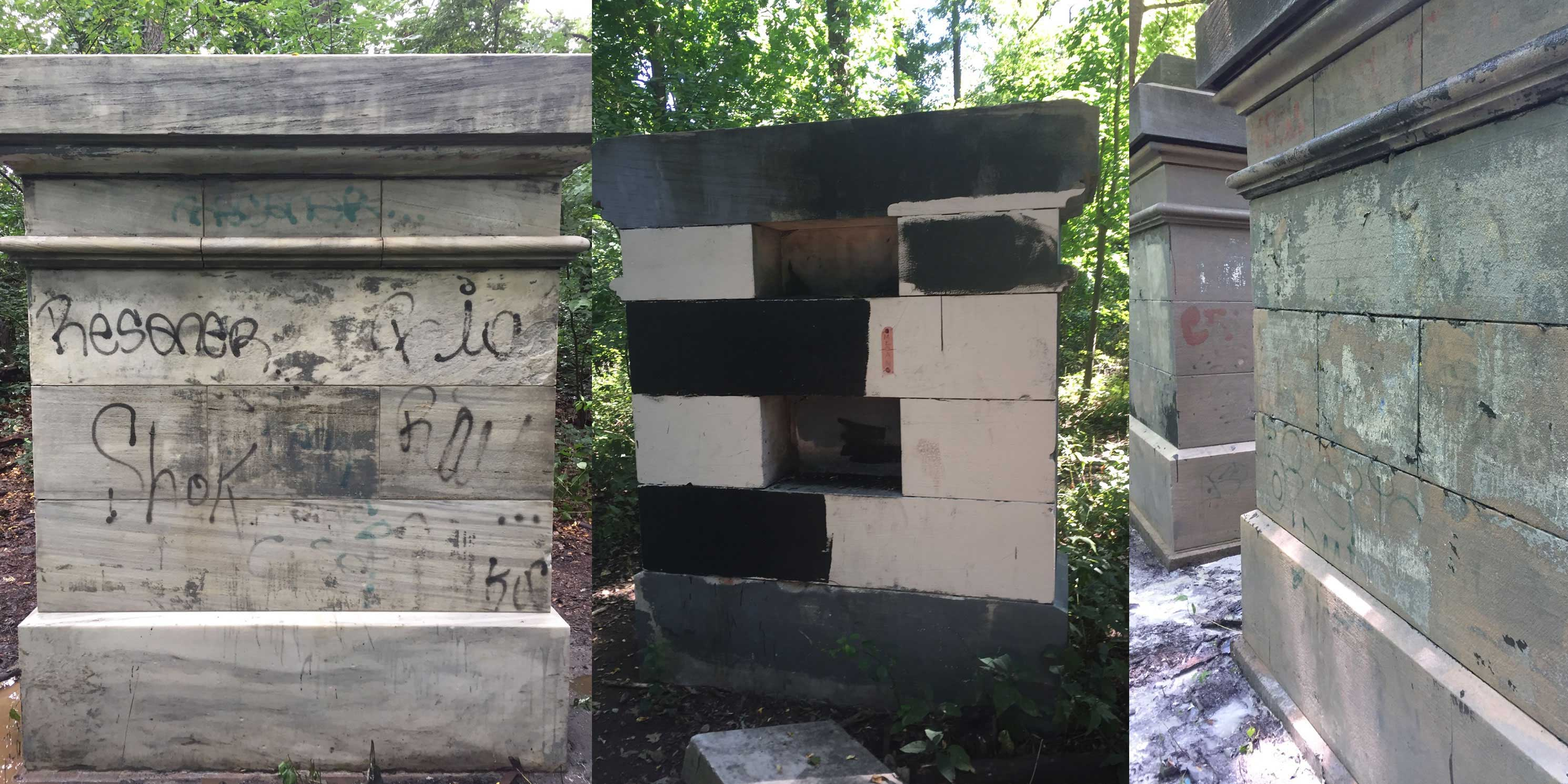 The Grand Central Stones in Van Cortlandt Park during renovation. Photo: Tatti Art Conservation.