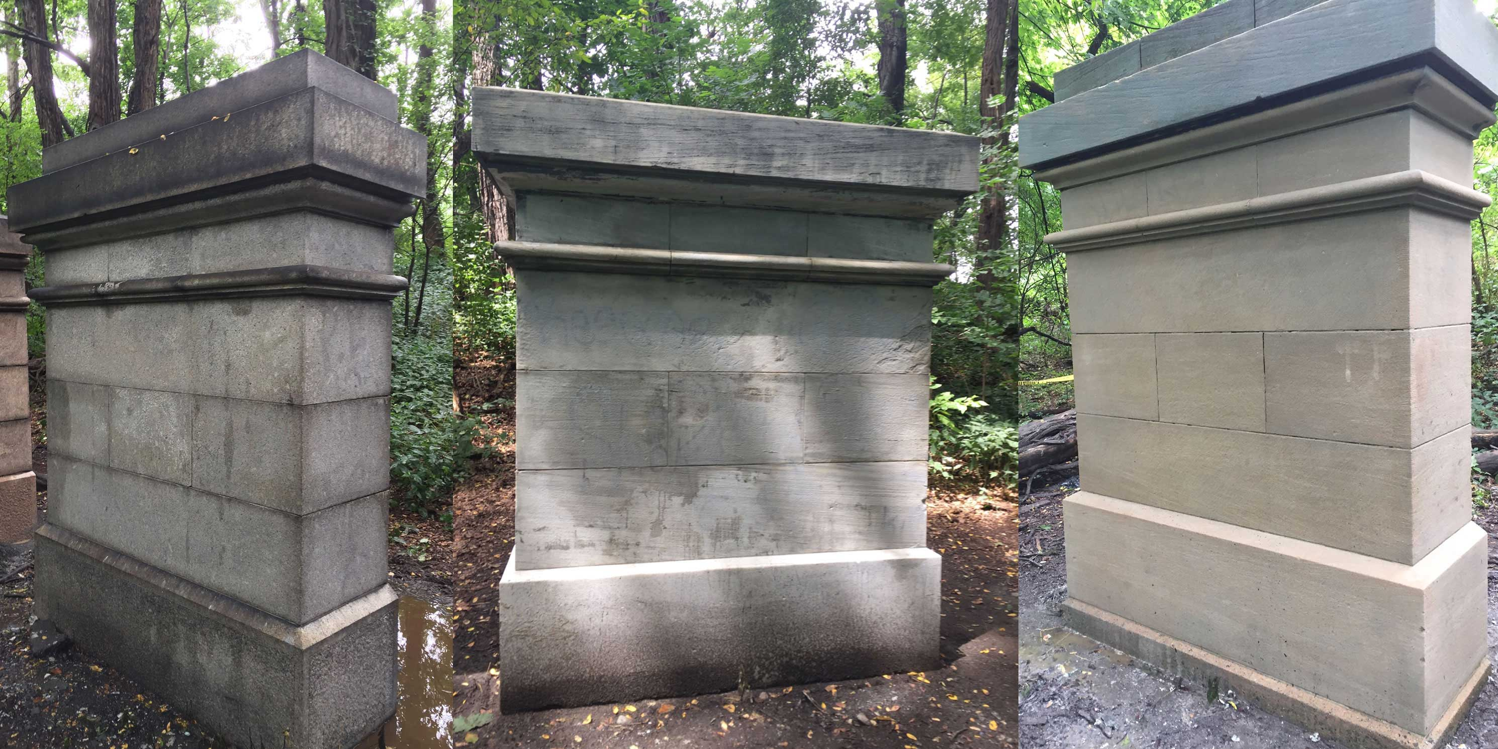 The Grand Central Stones in Van Cortlandt Park after renovation. Photo: Tatti Art Conservation.