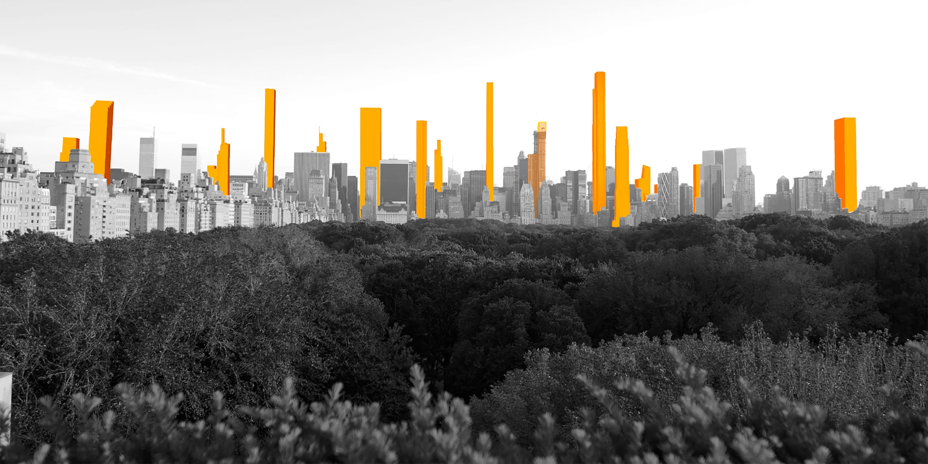 Rendering of the Manhattan skyline with proposed super-tall buildings.