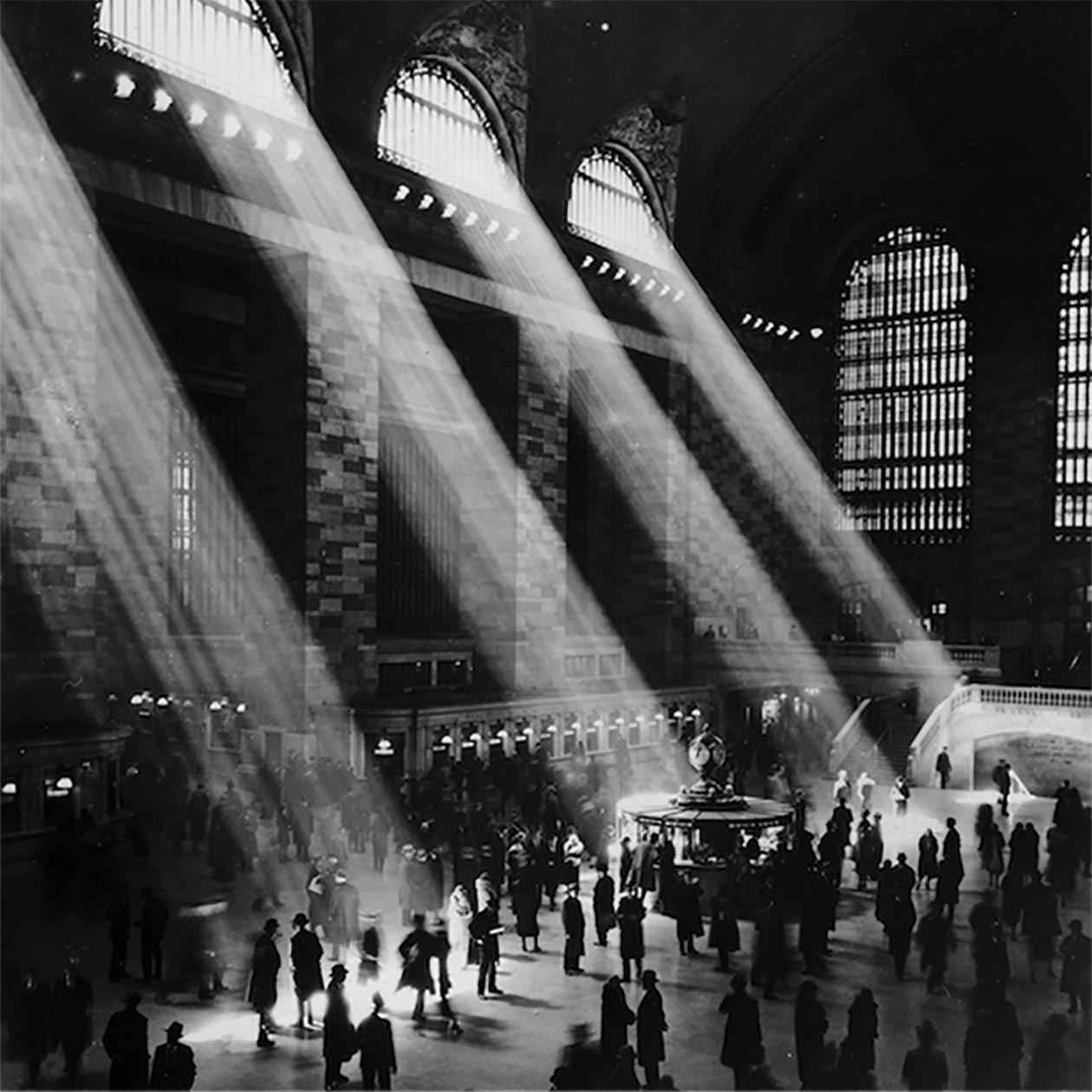 archival photo, Grand Central Terminal with light streaming through windows