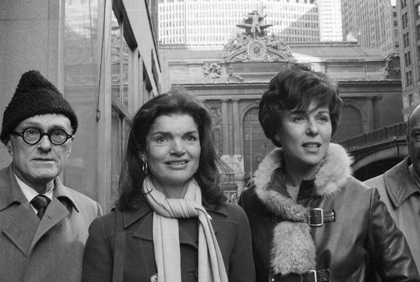 Philip Johnson, Jacqueline Kennedy Onassis, Bess Myerson, and Ed Koch outside Grand Central Terminal