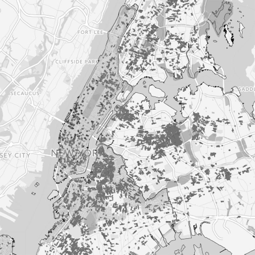 Map of 421-a properties across New York City