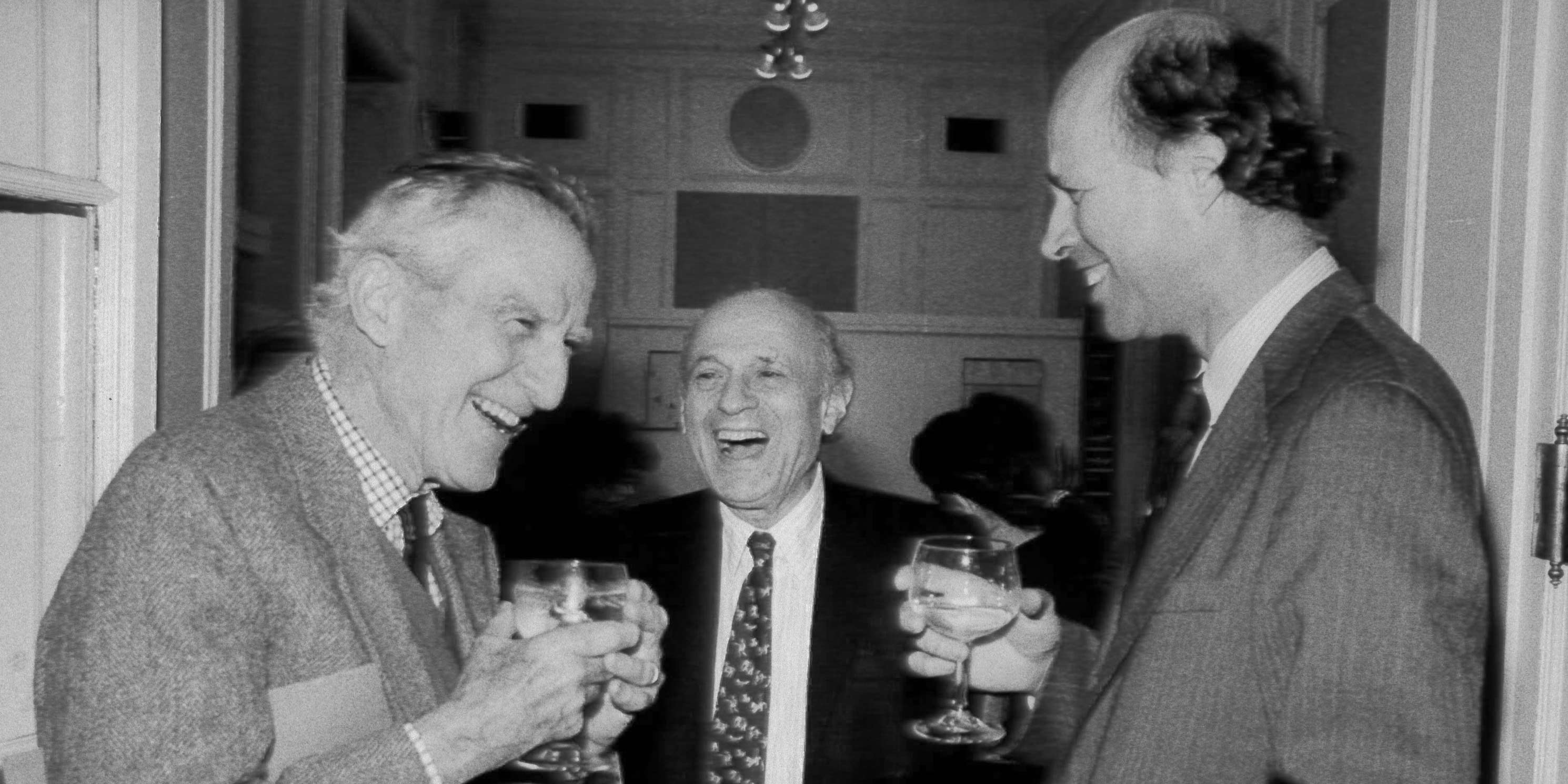Brendan Gill, Arthur Ross, and Kent Barwick at party