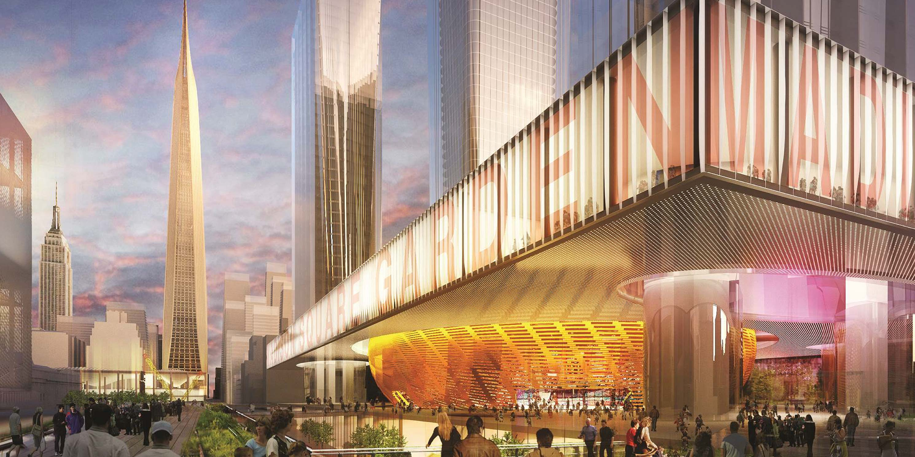 Rendering, the exterior of a future Madison Square Garden