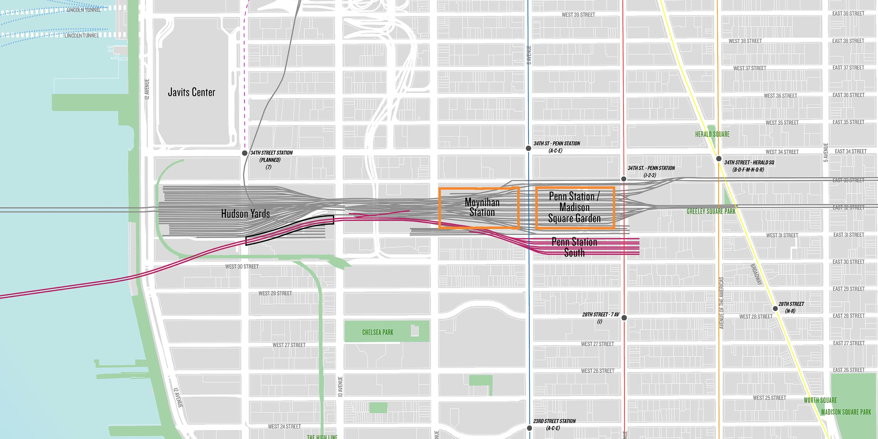 map showing rail lines connecting Hudson Yards to Penn Station