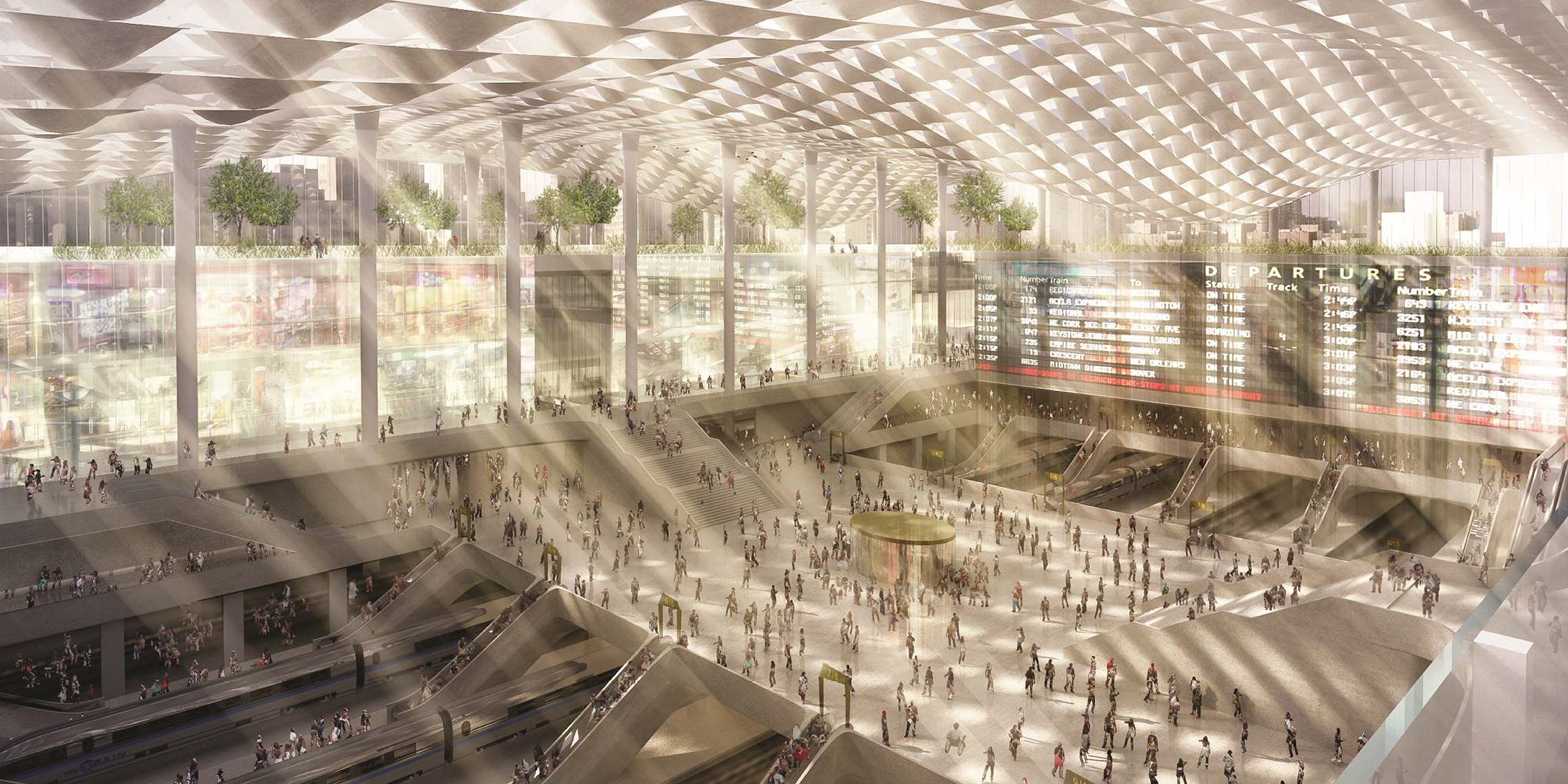 Interior rendering of a future Penn Station
