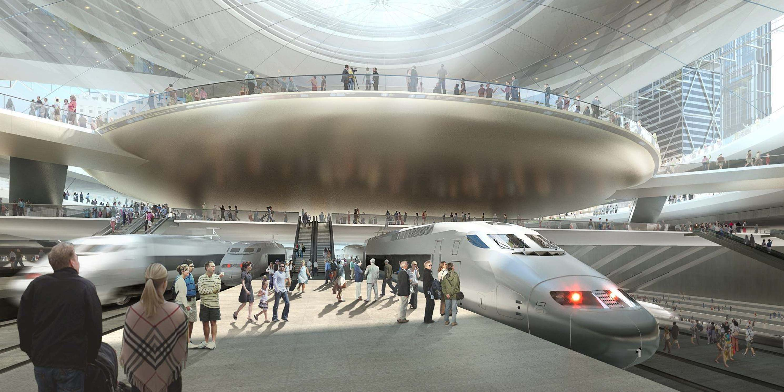 Rendering of a future Penn Station with high-speed trains