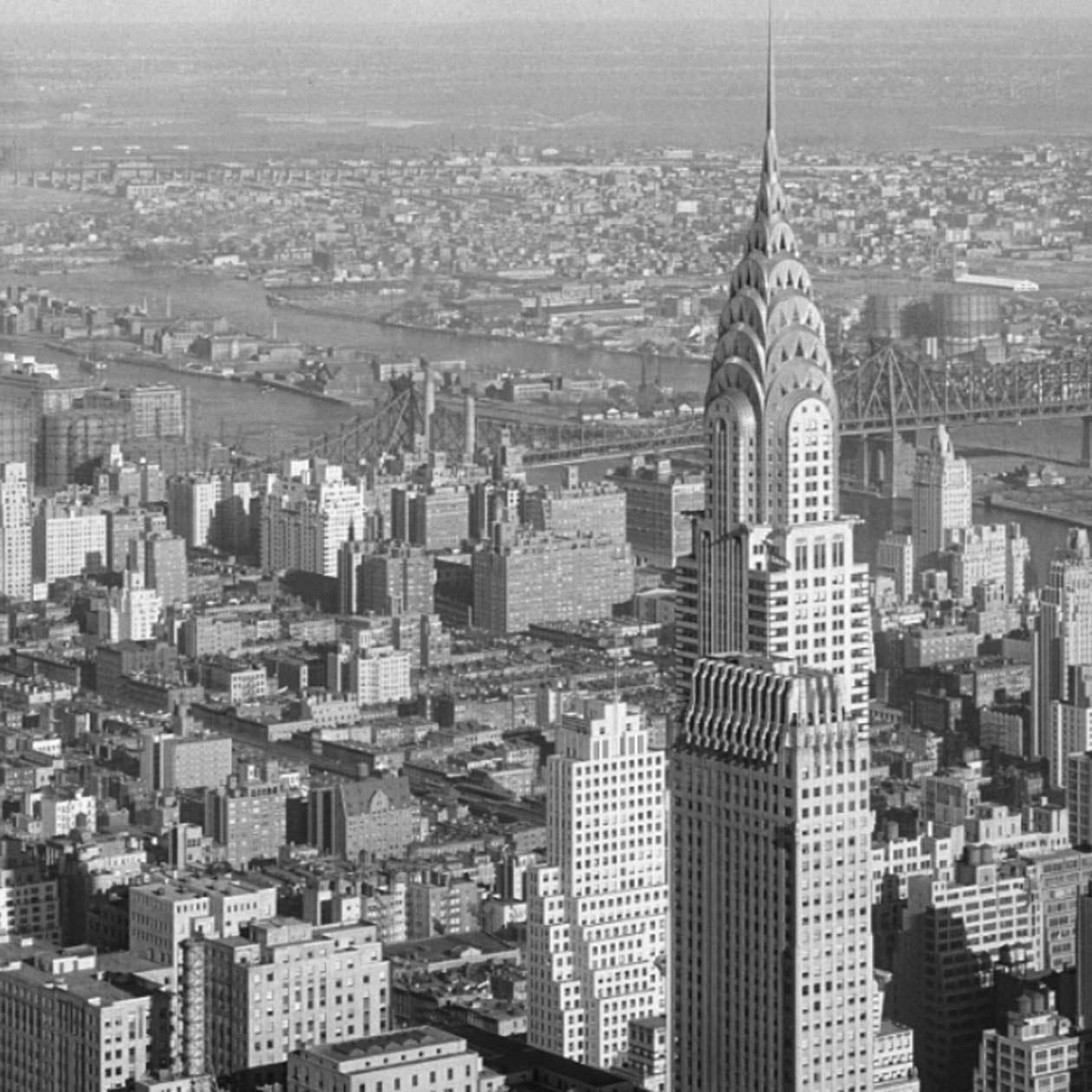 aerial of Manhattan with focus on the Chrysler Building
