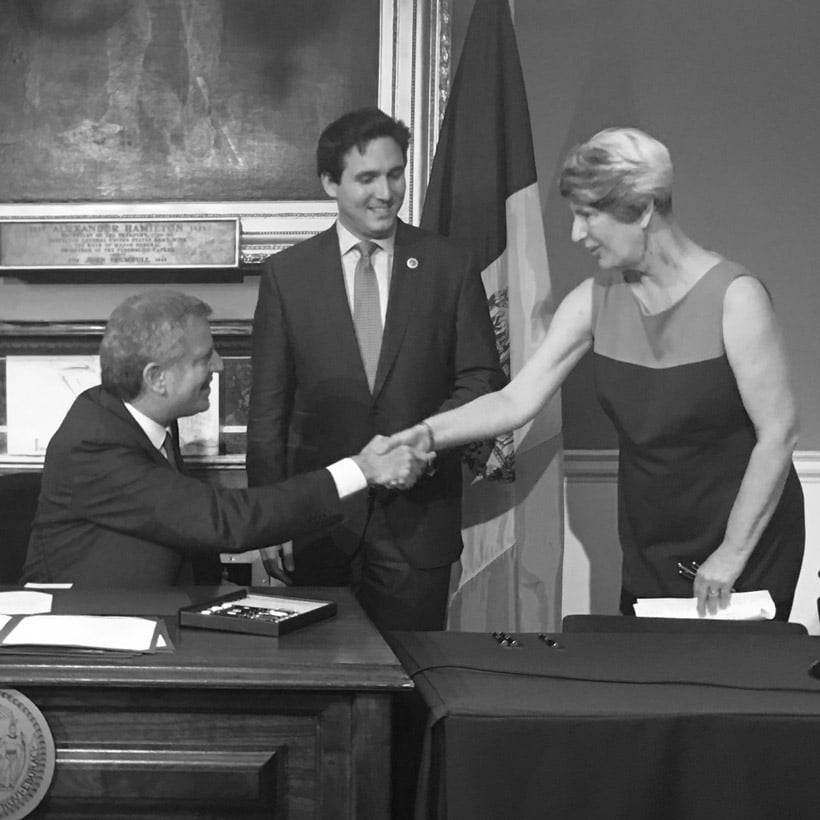 Elizabeth Goldstein and Bill deBlasio shake hands at signing of Board of Standards and Appeals reform bills