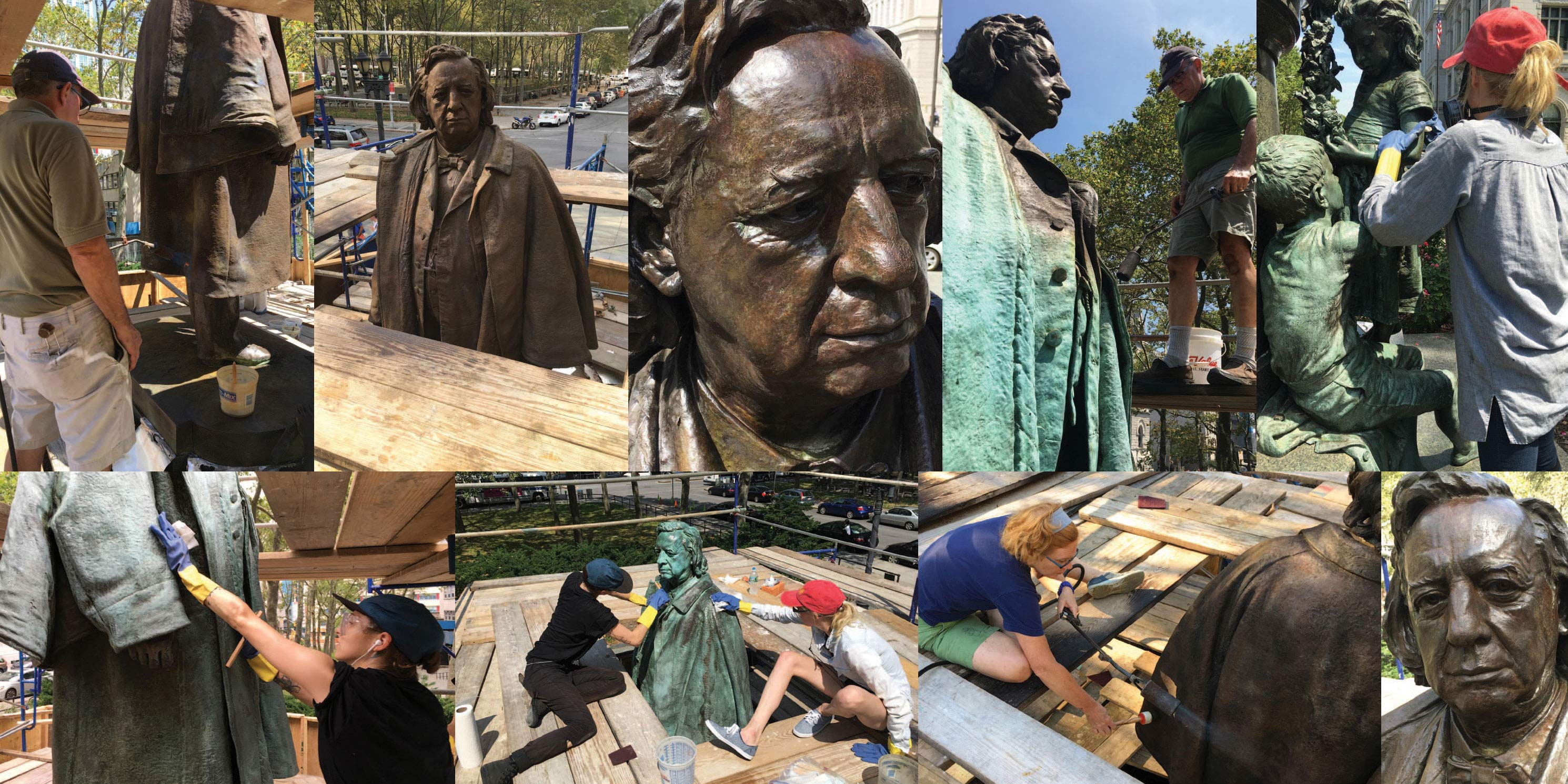 Photos of Henry Ward Beecher Monument during restoration process