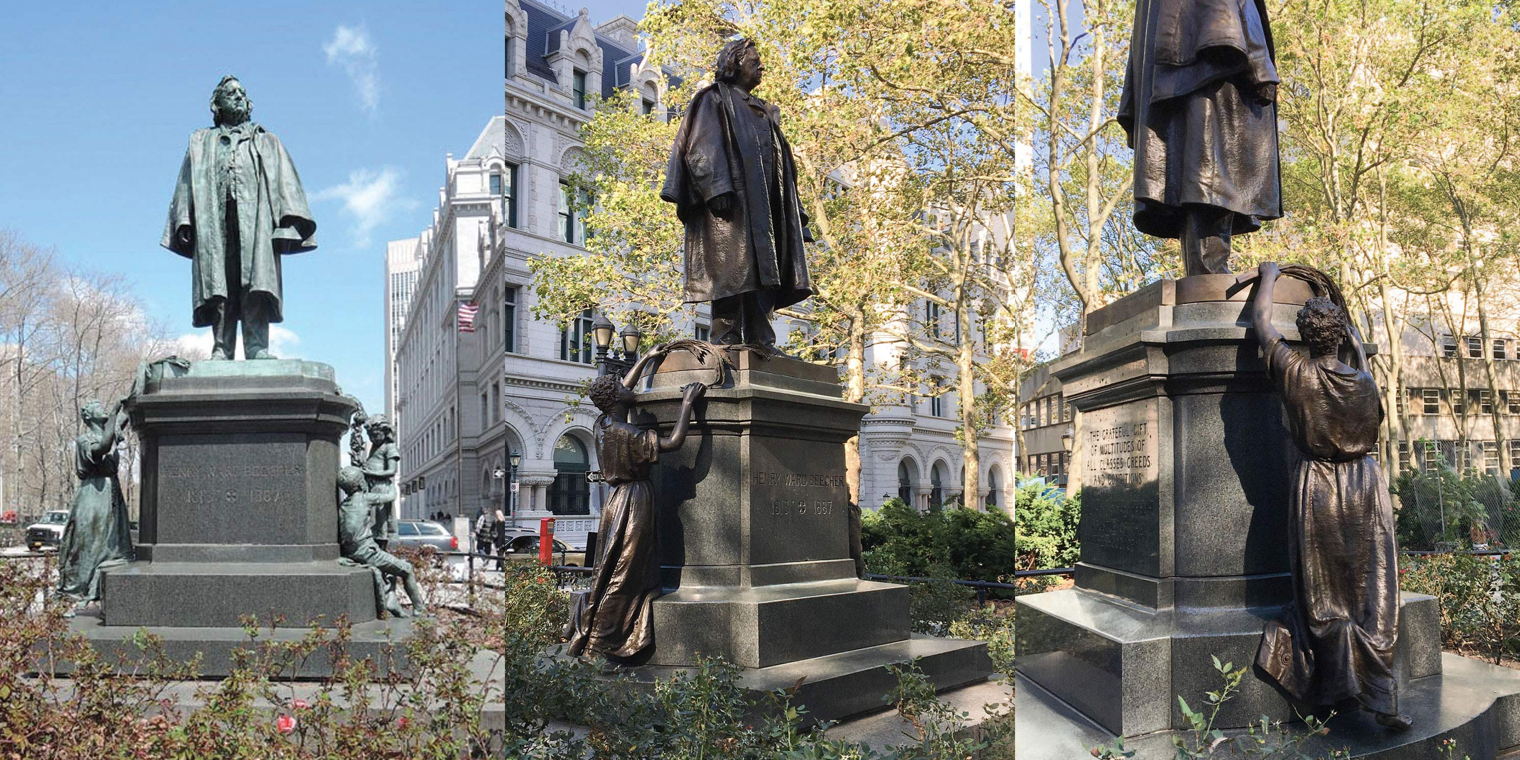 Photos of Henry Ward Beecher Monument before and after restoration