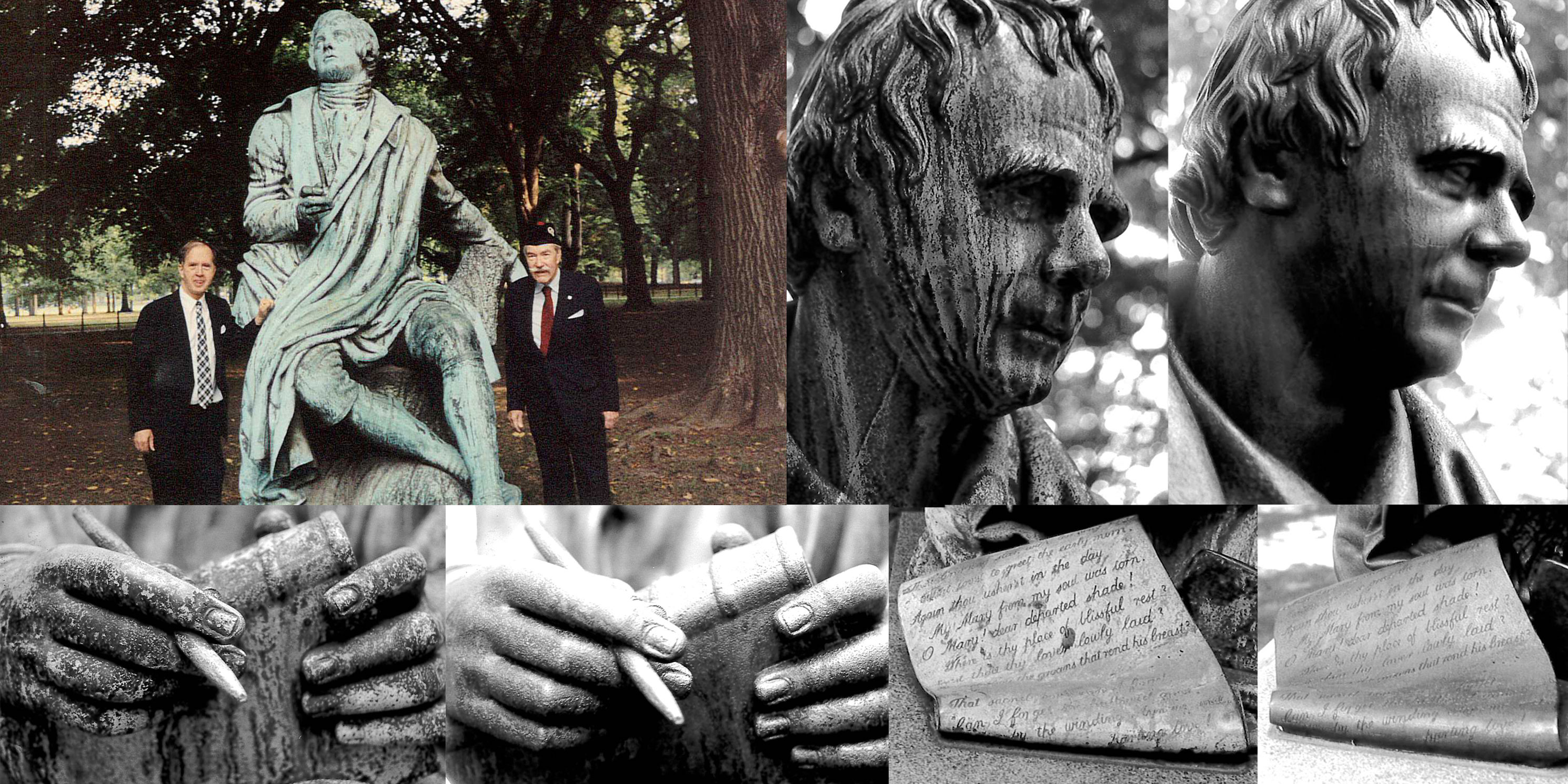 Collage of the Robert Burns Monument in Central Park