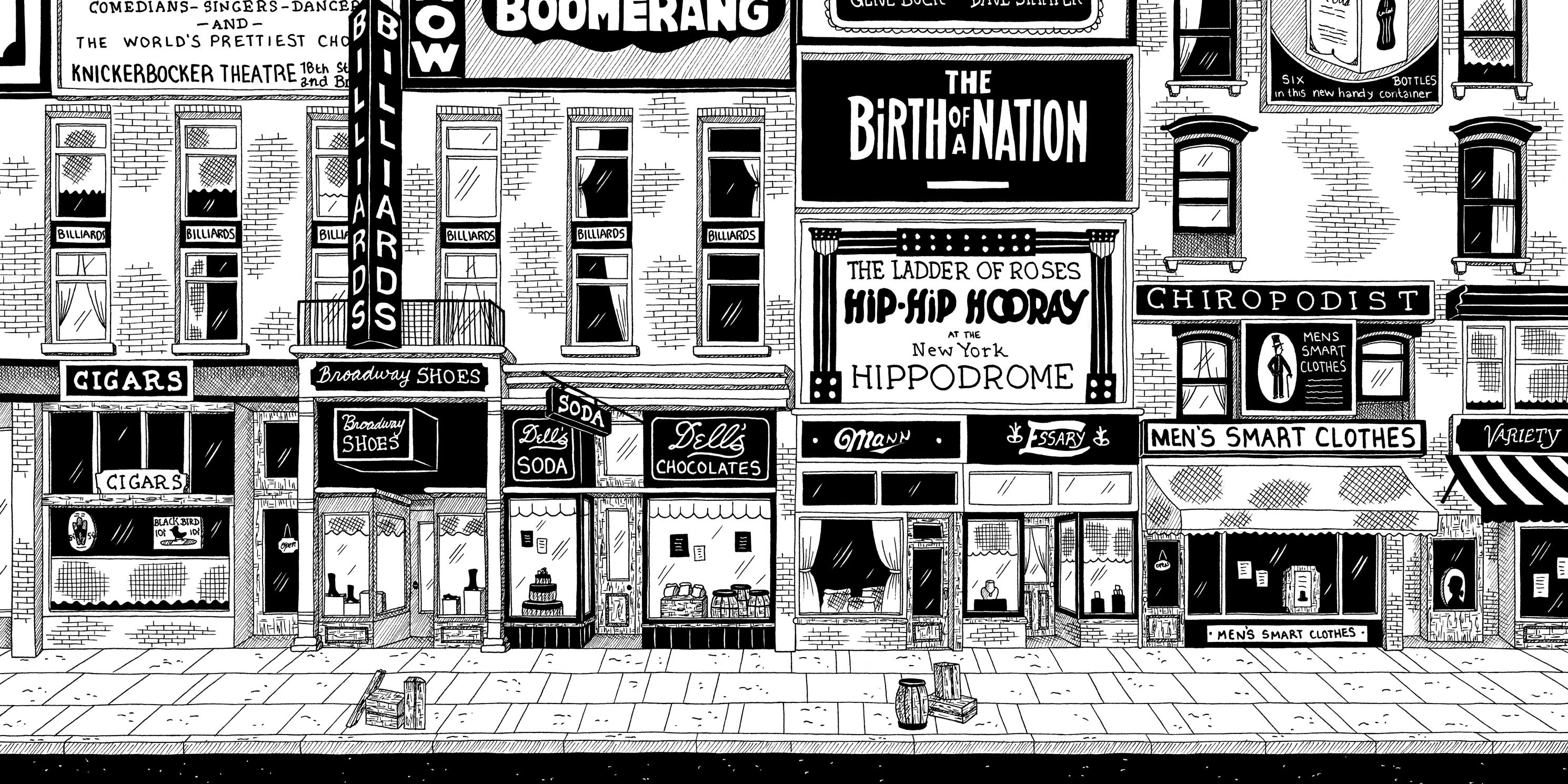drawing of shops on Broadway by Julia Wertz