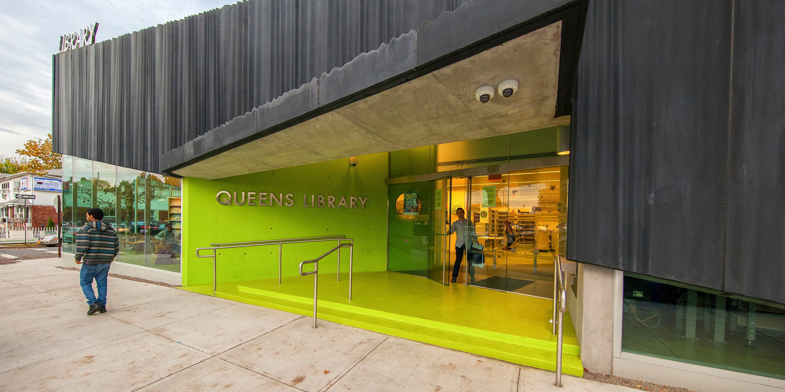 entrance to the Kew Gardens Hills Library