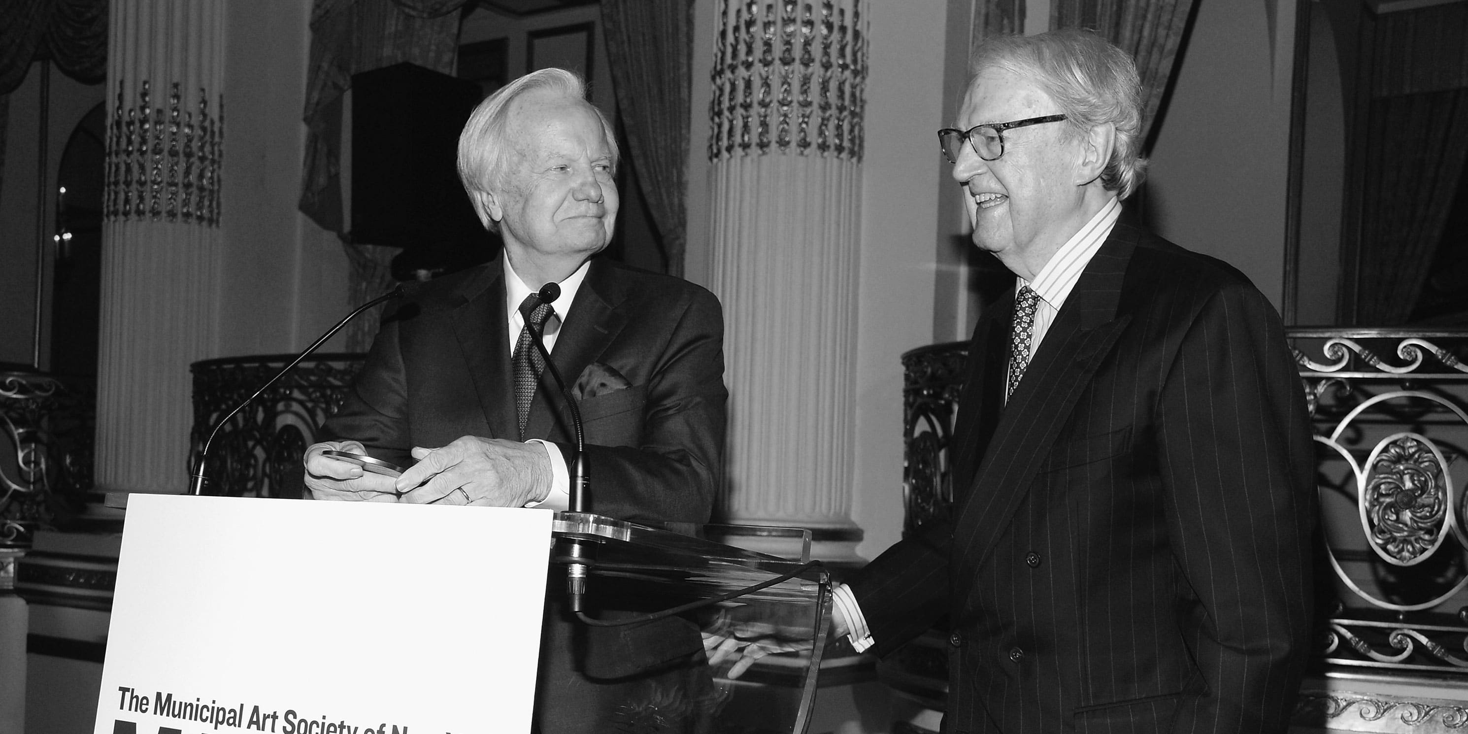 William vanden Heuvel and Bill Moyers at the 2016 Gala