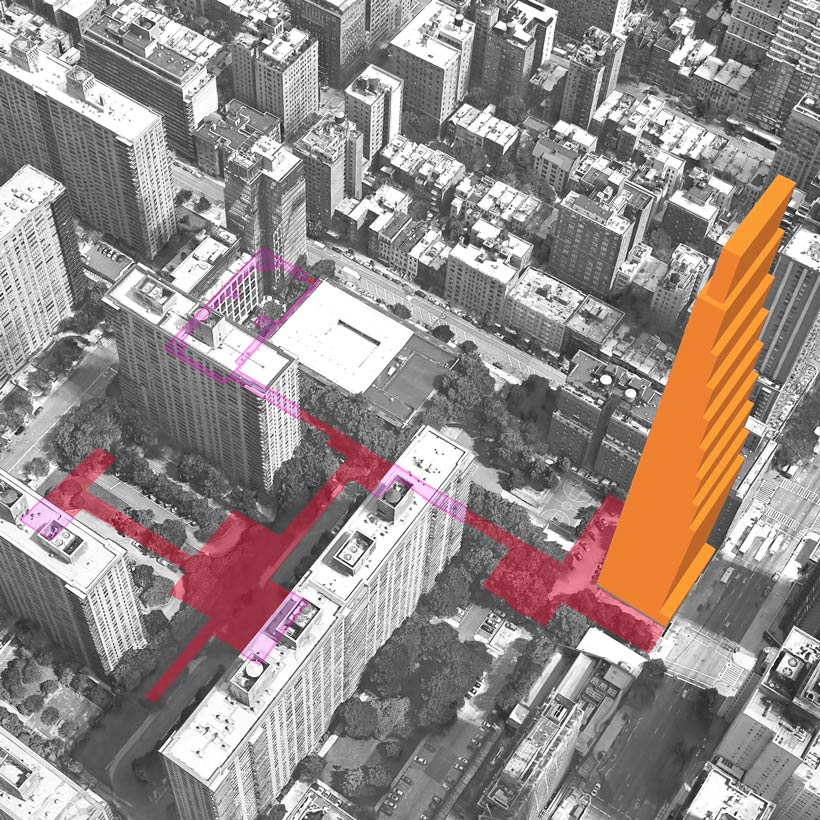 Aerial illustration of the gerrymandered zoning lot and proposed tower at 200 Amsterdam Avenue