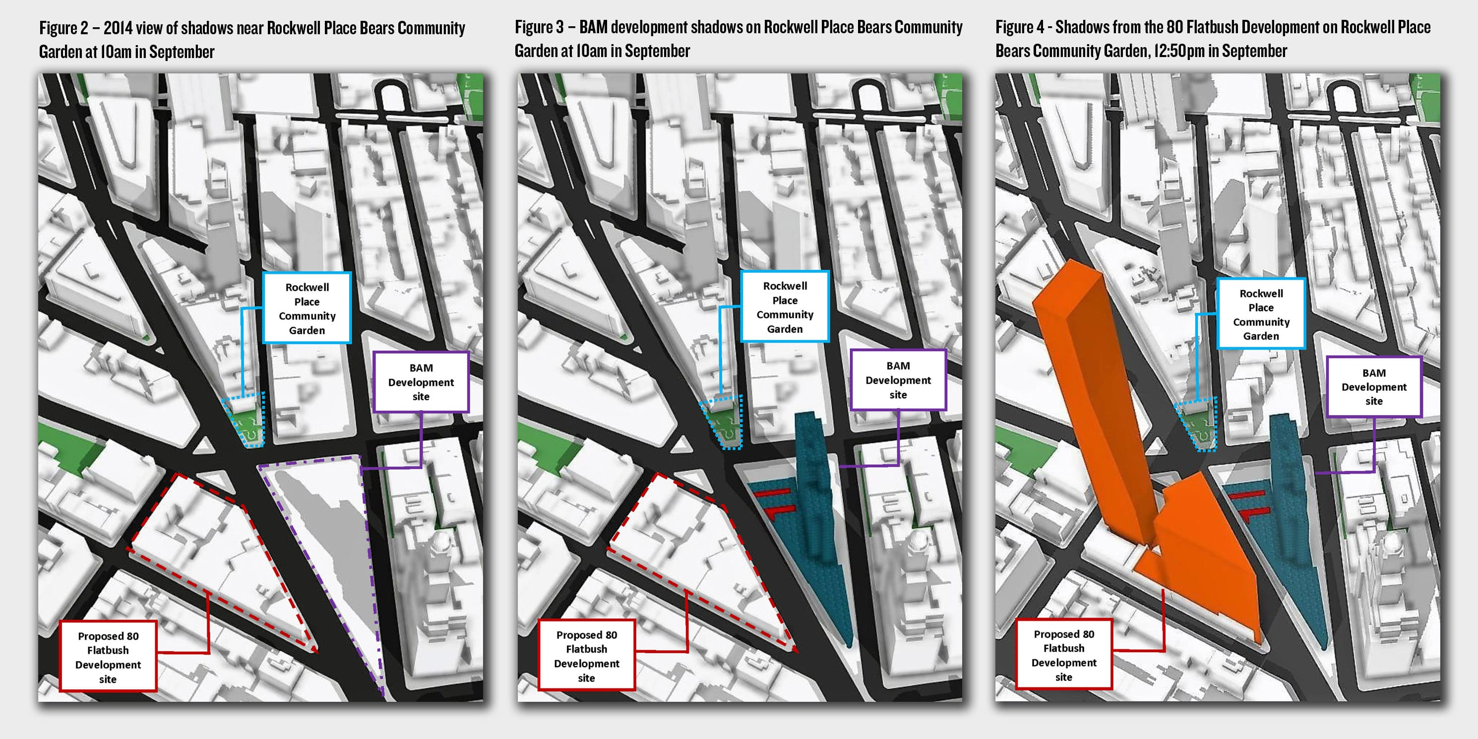 Maps depicting the shadows cast by a proposed development at 80 Flatbush Avenue in Brooklyn