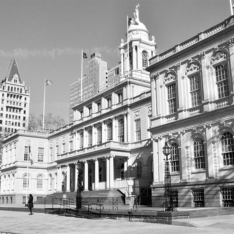 exterior of New York City's City Hall