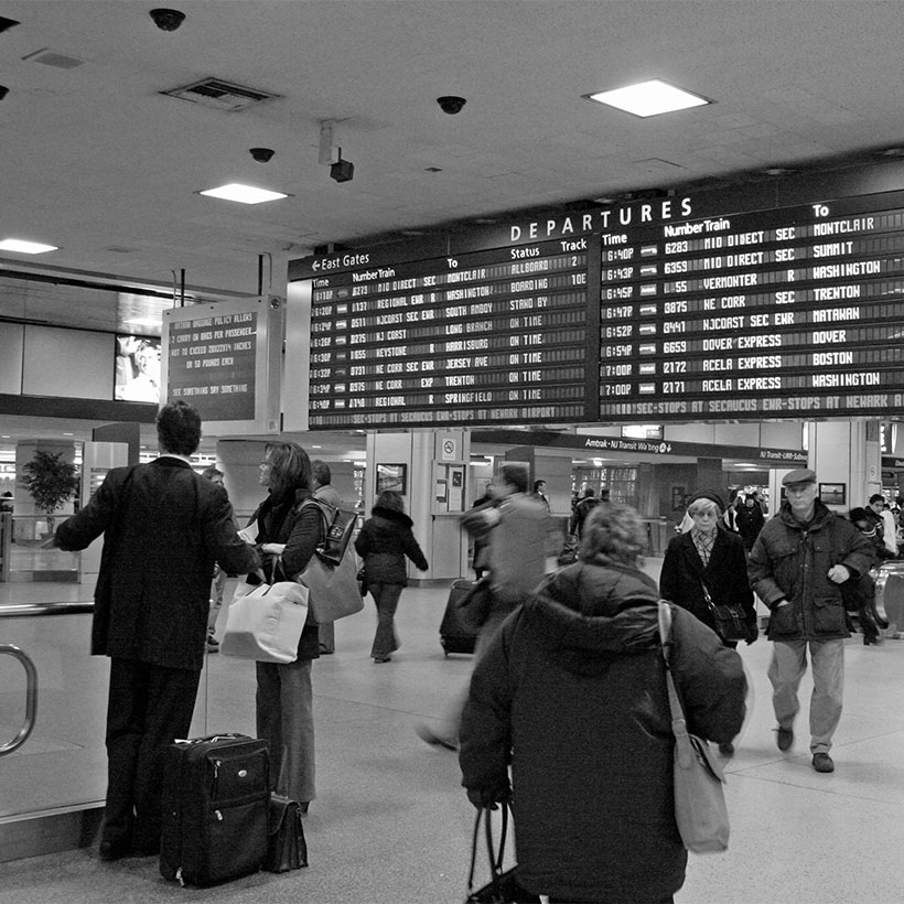 The train departure board at Pennsylvania Station in New York City. Photo: Wikimedia Commons, Alan Turkus.