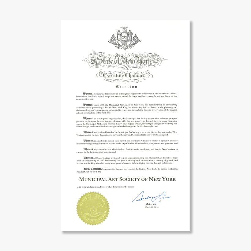 Proclamation from Governor Andrew Cuomo to the Municipal Art Society of New York