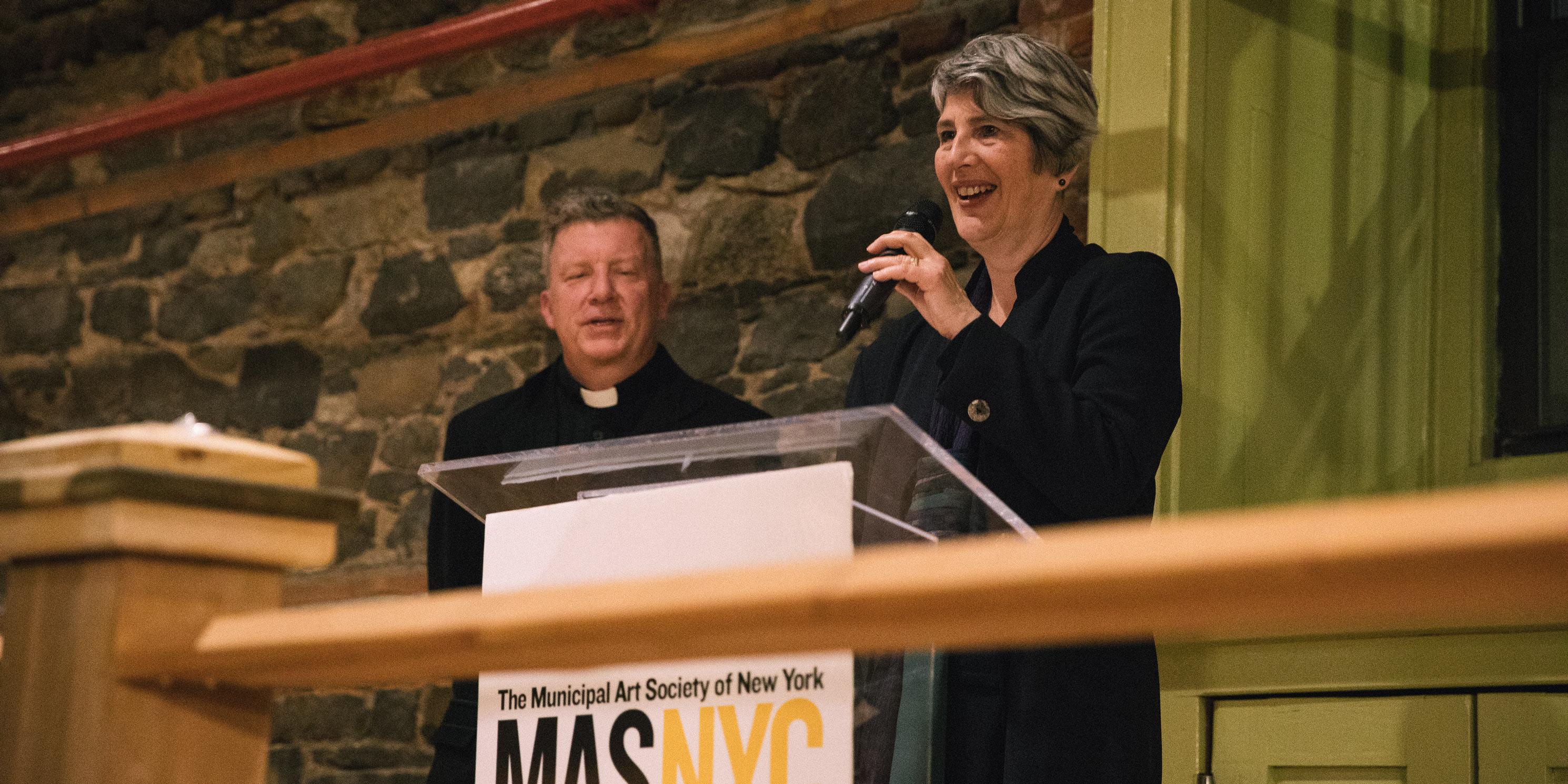 MAS President Elizabeth Goldstein speaks at the Celebrating the City reception