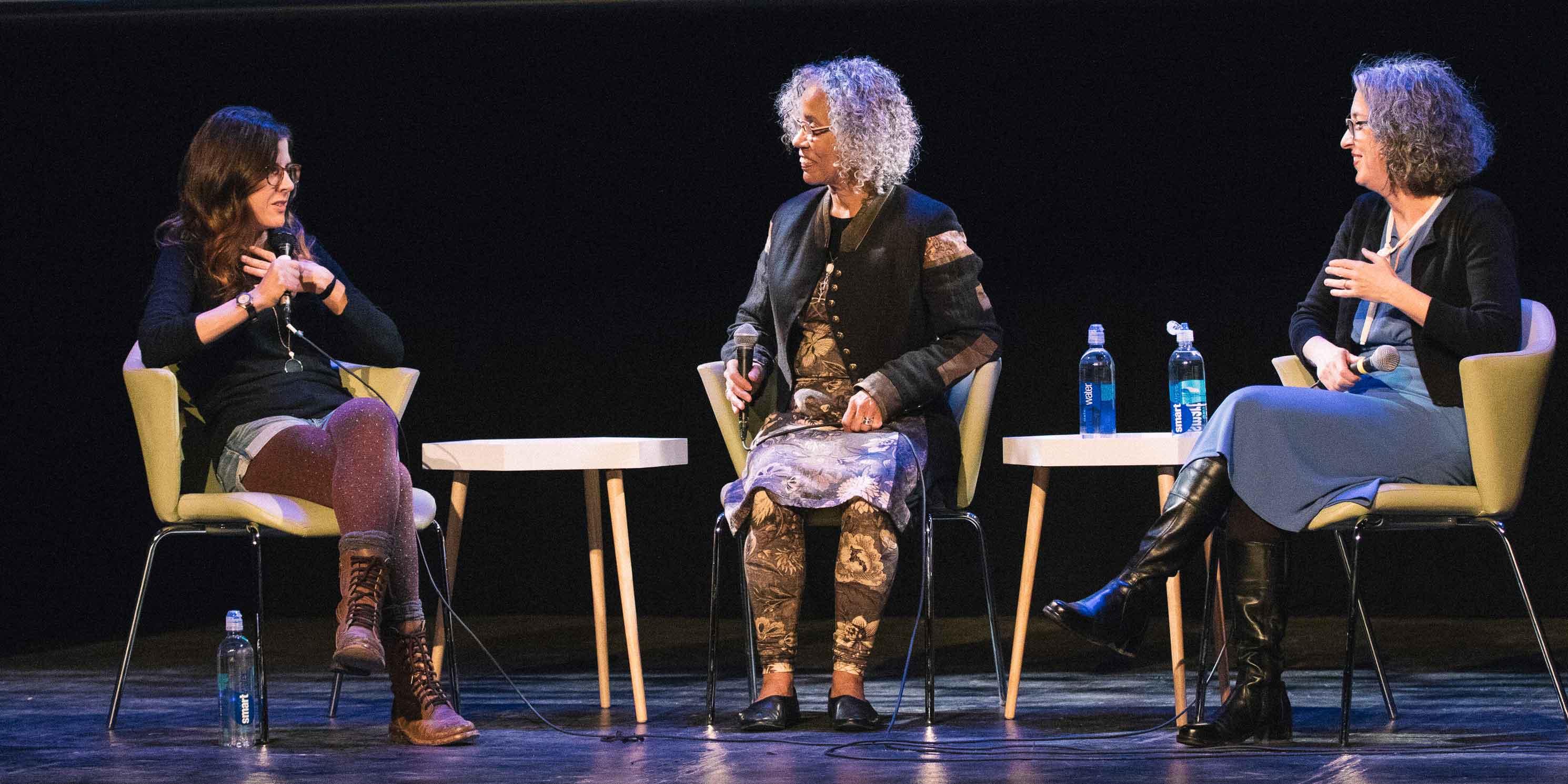 Julia Wertz, Pat Cruz, Melissa Rachleff during the event's panel discussion
