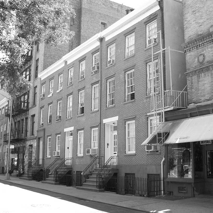 Historic homes on Jones Street in Manhattan