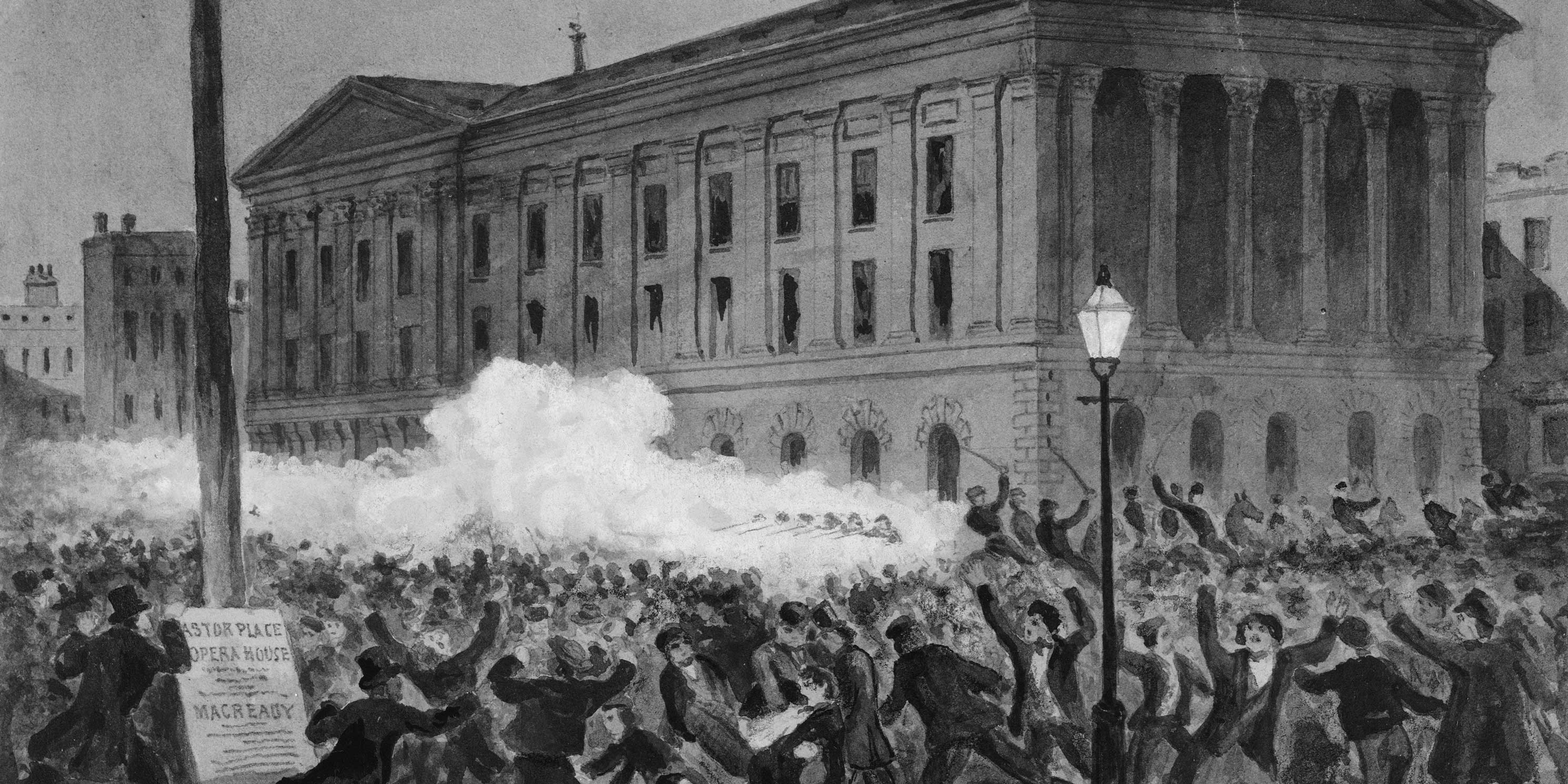 illustration of the Astor Place Riot on May 10, 1849