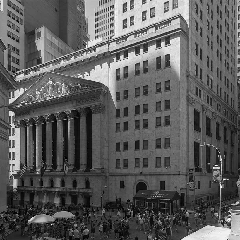 Intersection of Broad Street and Wall Street with New York Stock Exchange