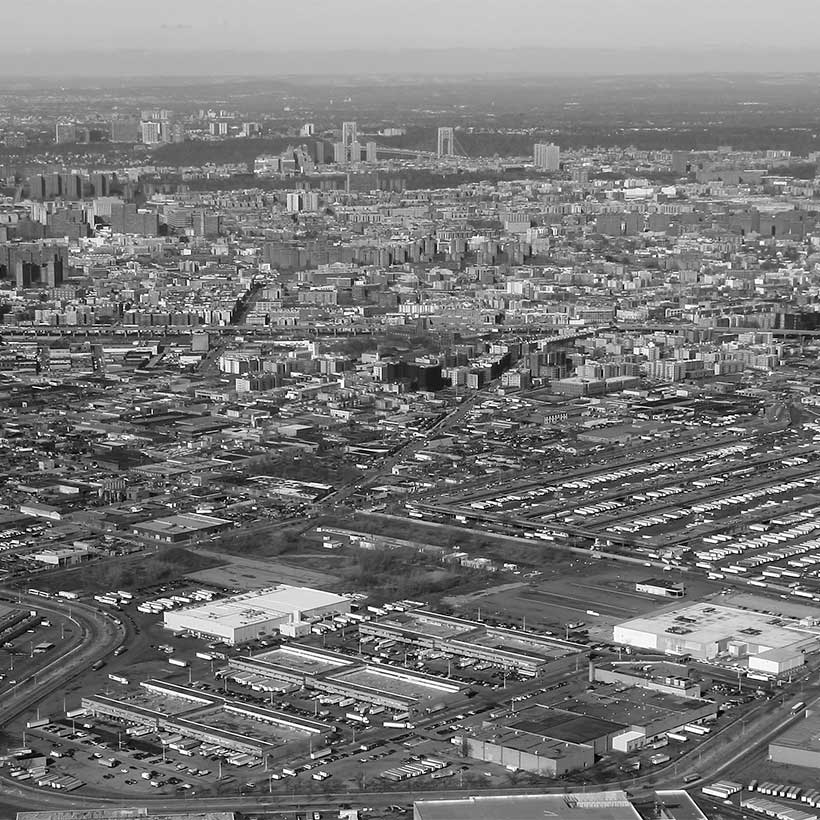 Aerial of the Bronx with the Hunts Point Cooperative Market in the foreground