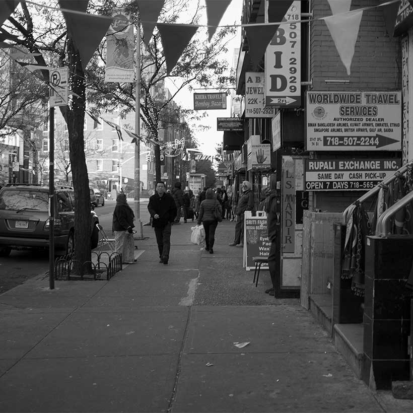 A street in the Jackson Heights neighborhood of Queens