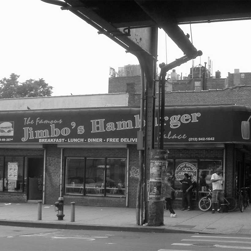 Jimbo's Hamburger on 207th Street in Inwood. Photo: Wikimedia Commons, Jim Henderson.