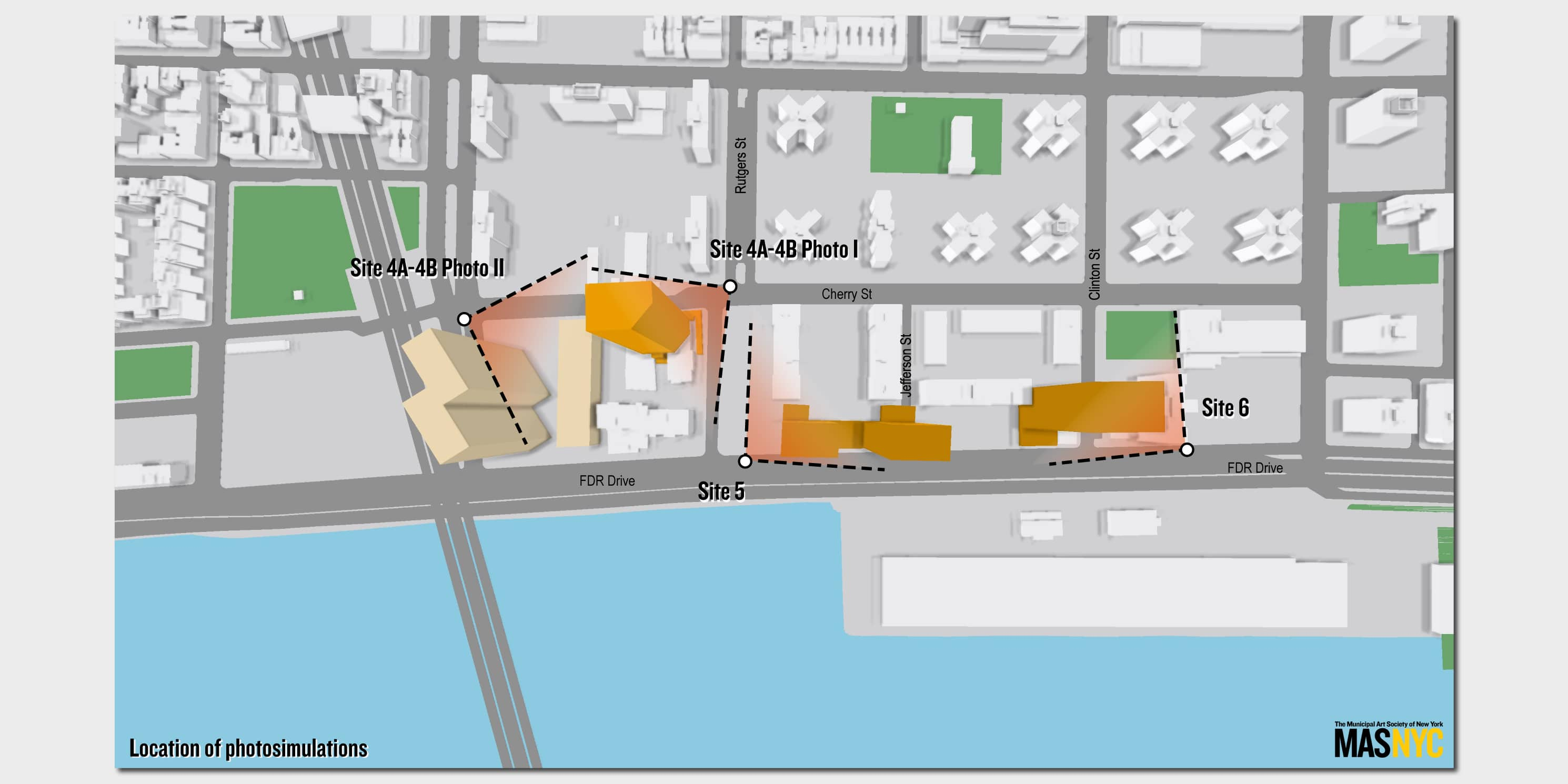 map of area surrounding Two Bridges proposed development