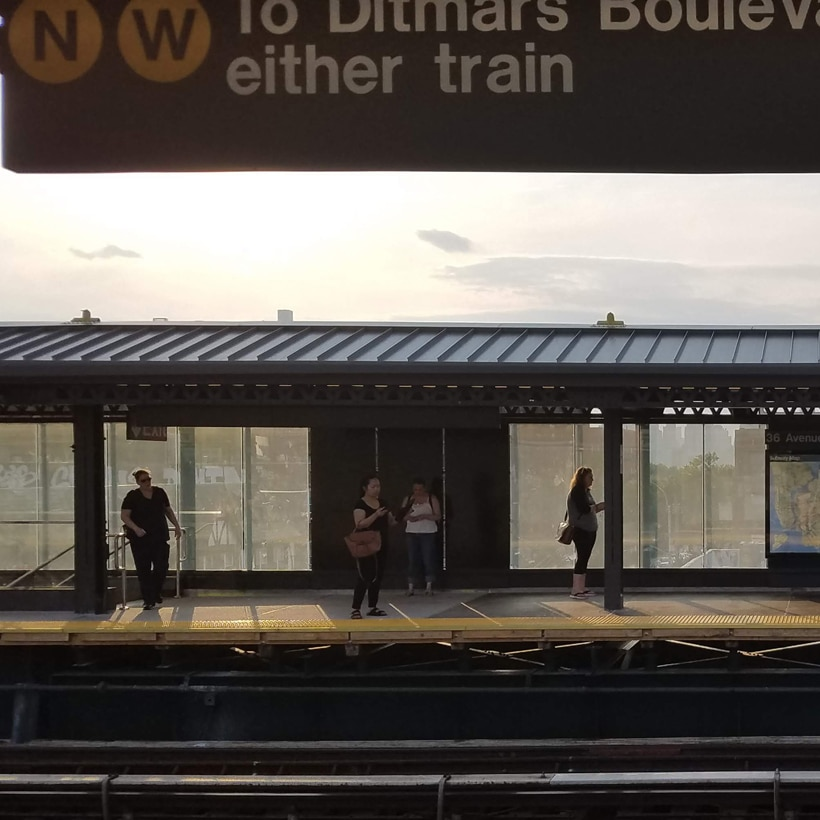 platform at a renovated subway station in Astoria, Queens