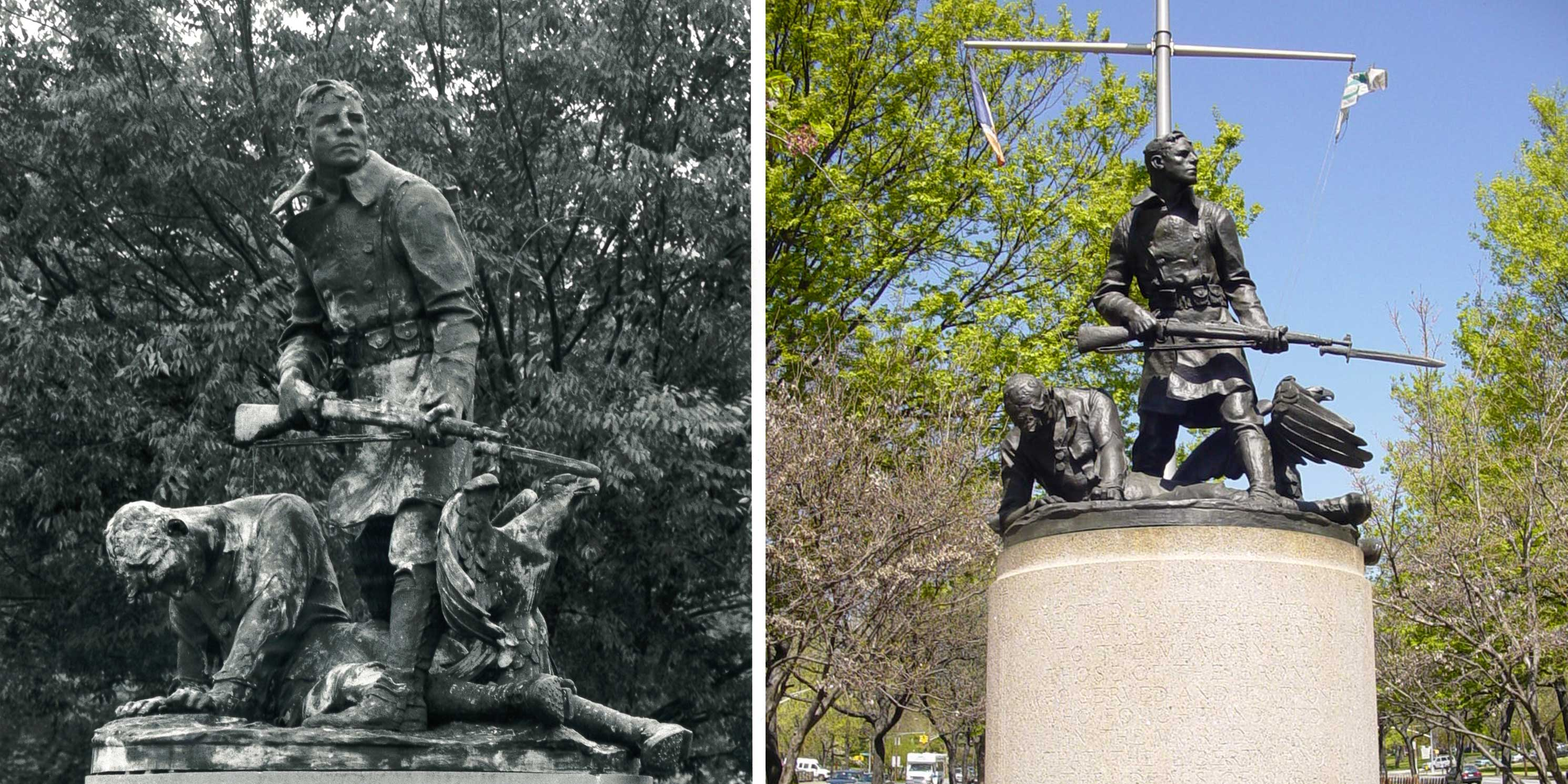 The World War I Bronx Victory Memorial before and after restoration