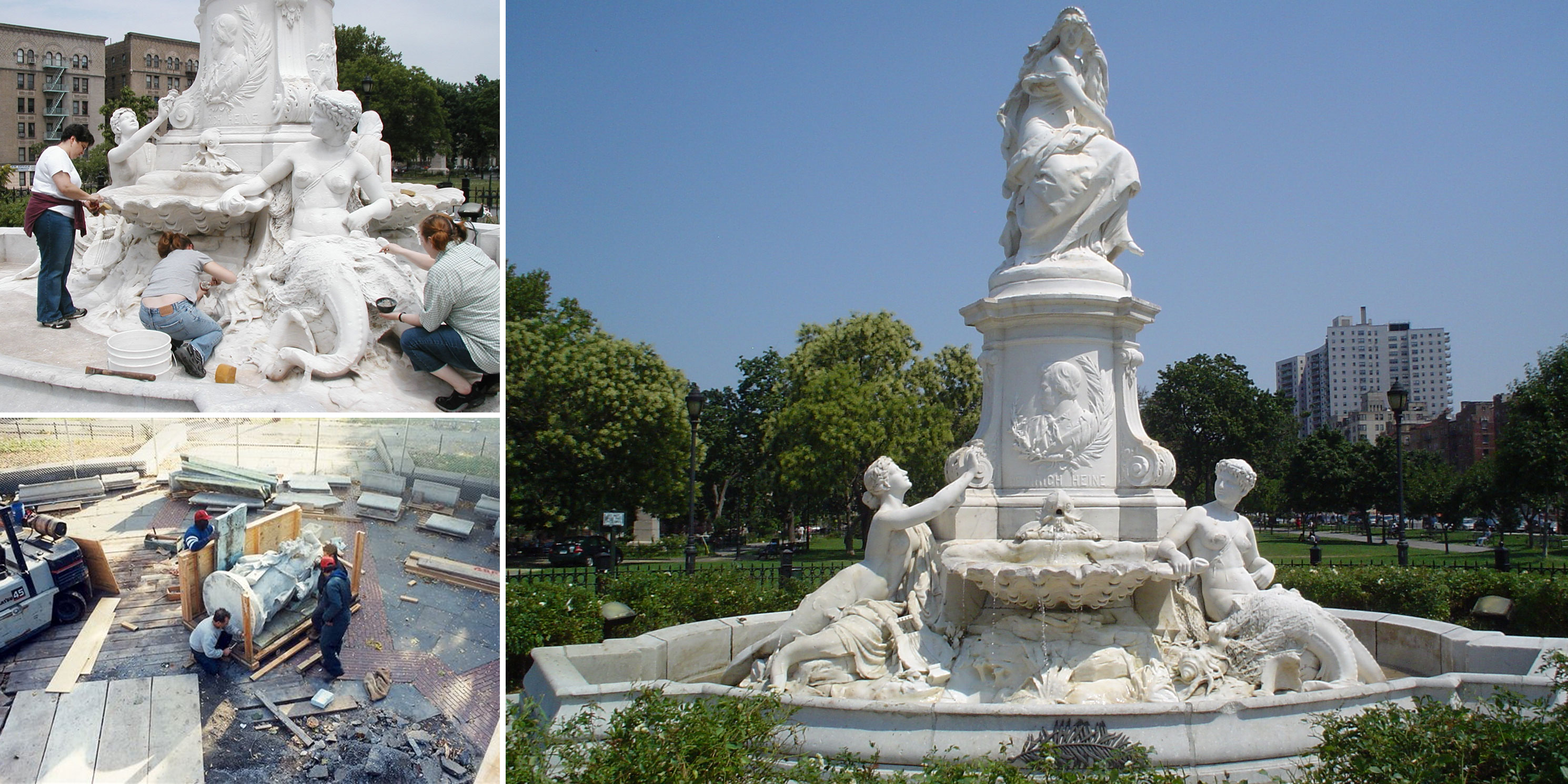 "The Heinrich Heine Fountain (""Die Lorelei"") by Ernest Herter during and after restoration."