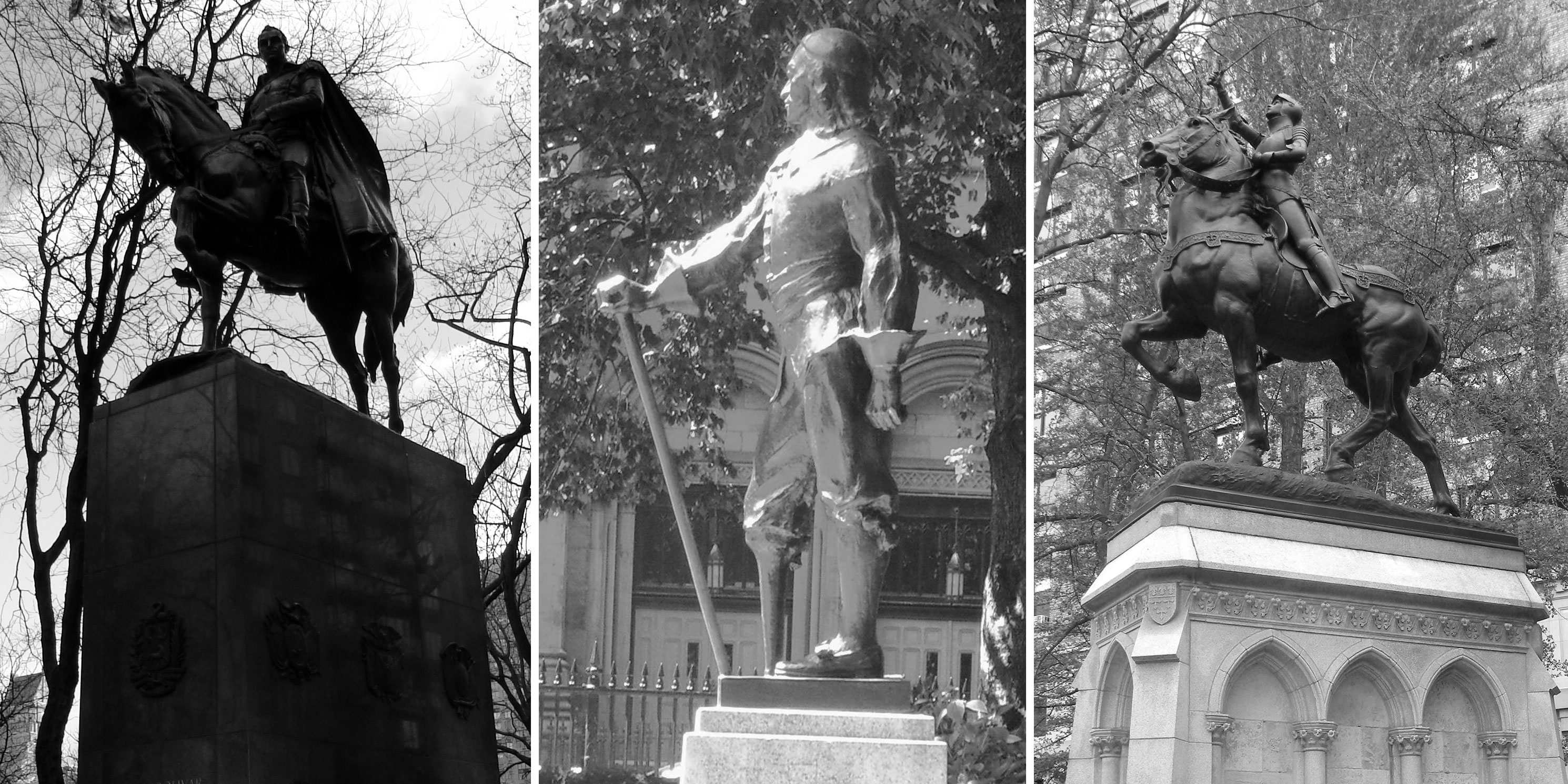 Statues - Simón Bolívar by Sally Jane Farnham, Peter Stuyvesant by Gertrude Vanderbilt Whitney, and Joan of Arc by Anna Hyatt Huntington