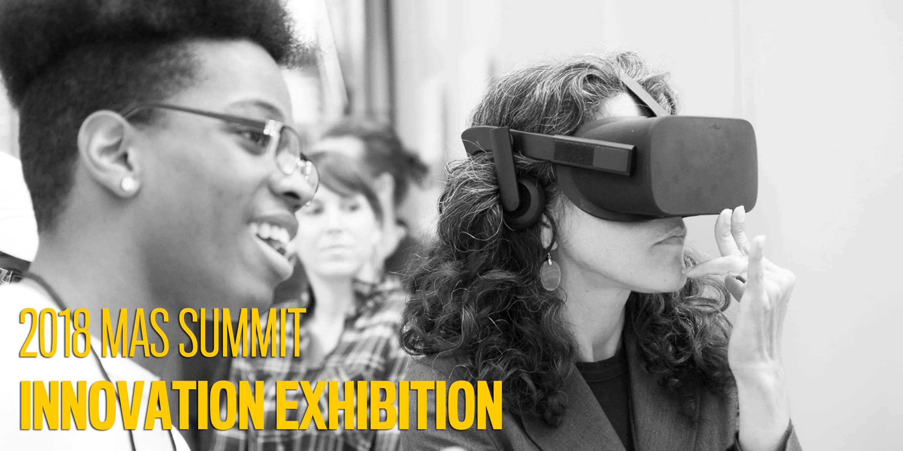 attendees using virtual reality headsets at the 2017 Innovation Exhibition