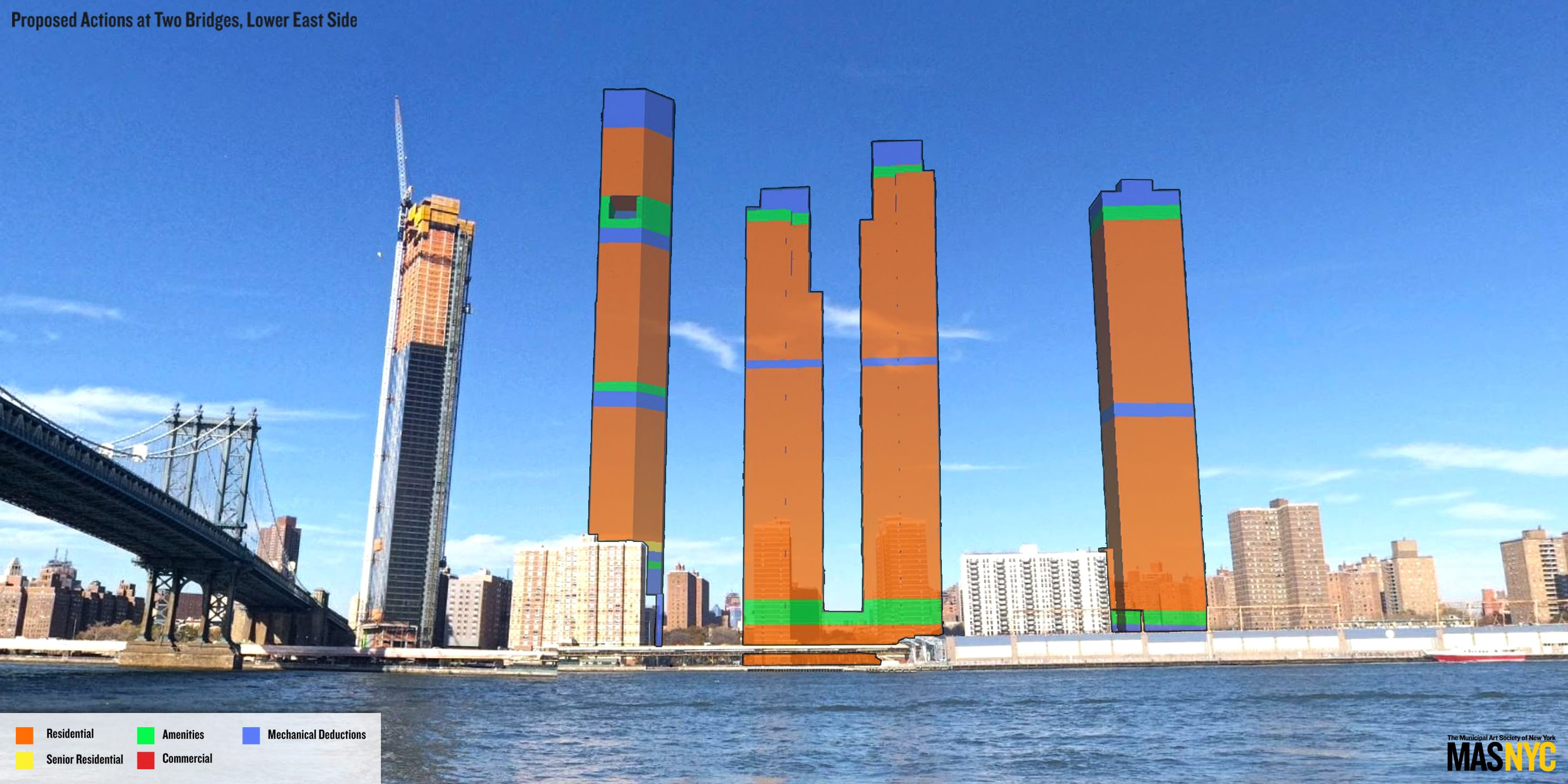 rendering of Manhattan skyline with proposed Two Bridges towers