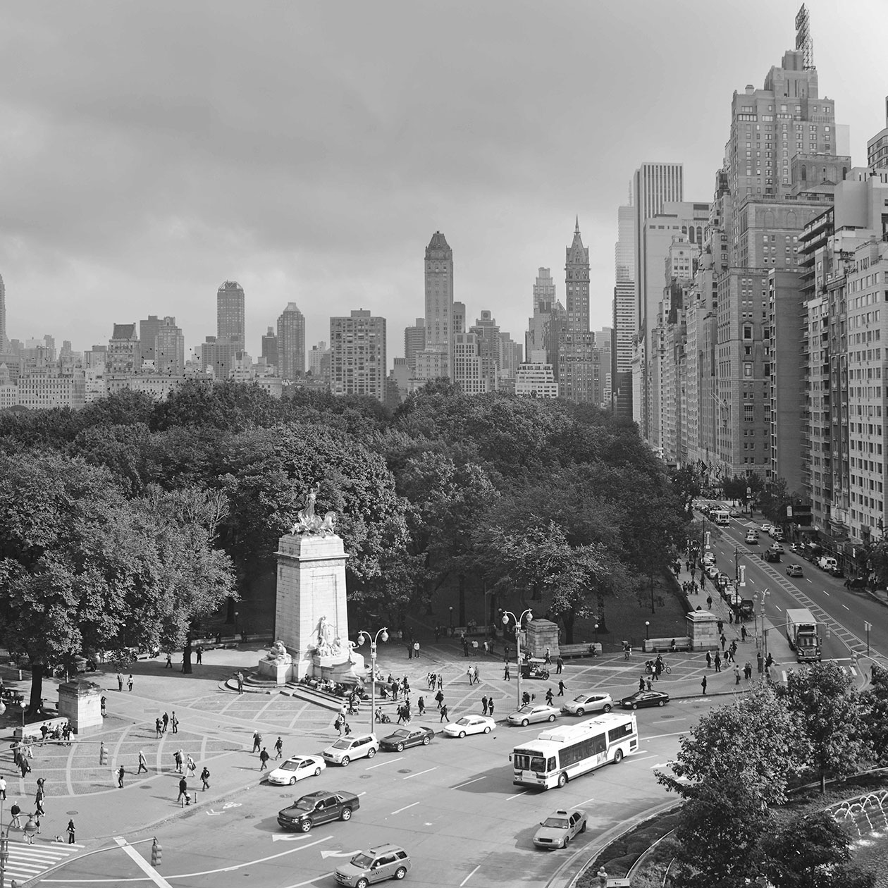 high angle view of the Columbus Statue and Columbus Circle