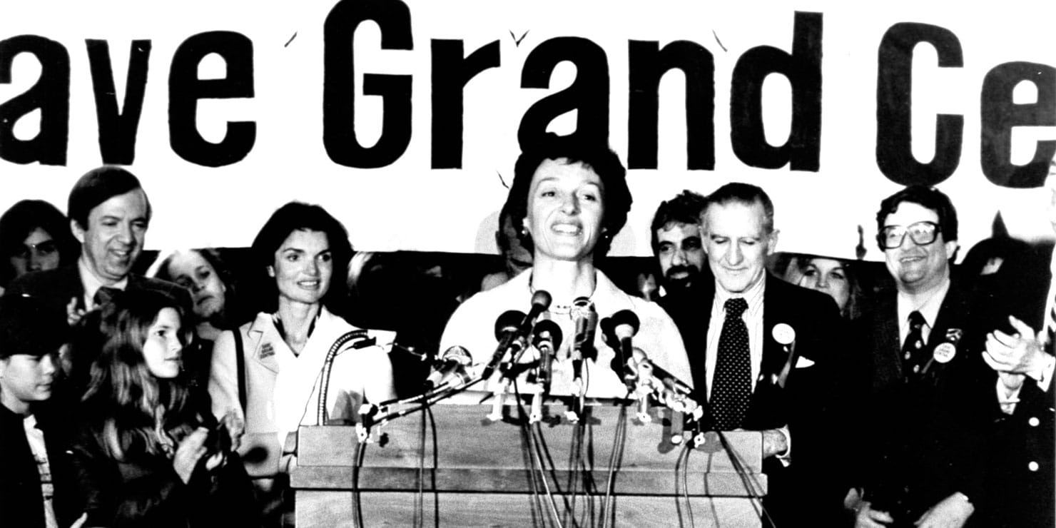 Joan Mondale speaks at a rally to save Grand Central. Photo: Associated Press.