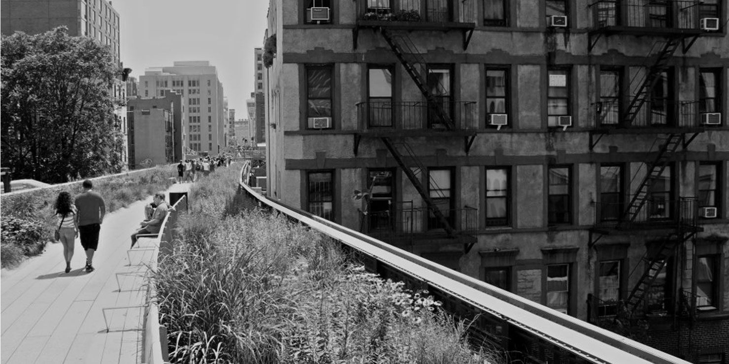 People stroll on The High Line in Manhattan