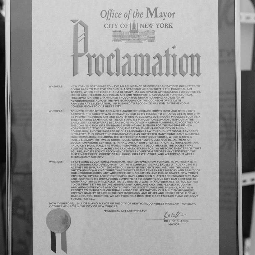 A proclamation from Mayor Bill de Blasio honoring MAS